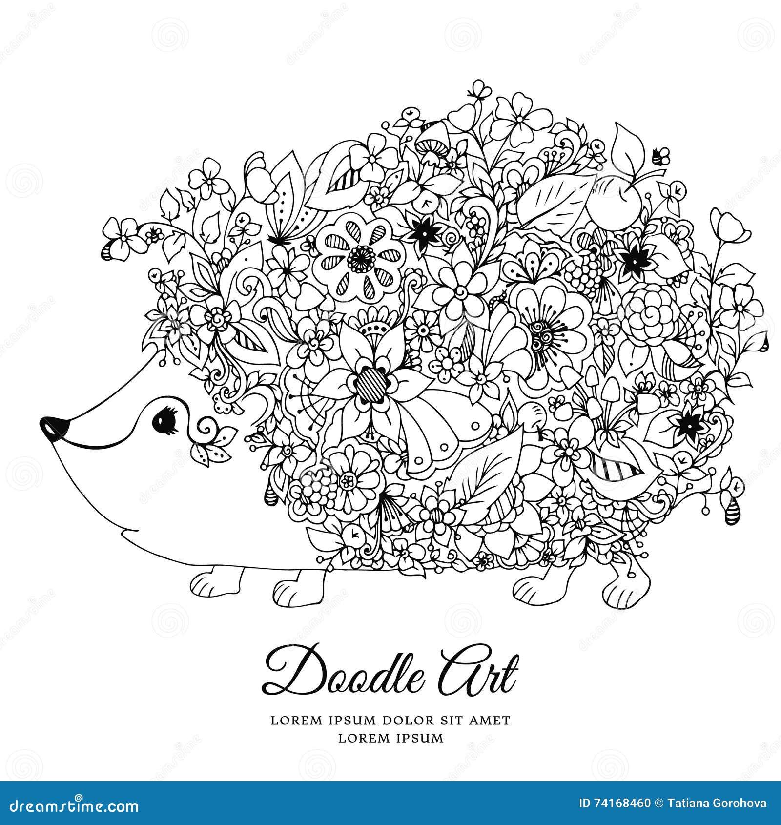 Hérisson De Zentangl D Illustration De Vecteur Avec Des