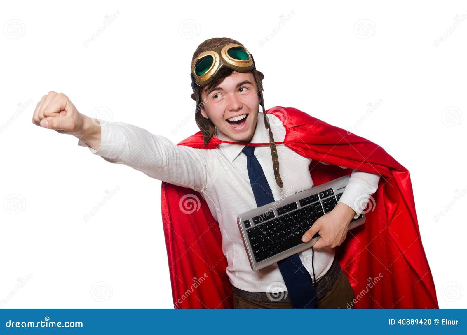 Héroe divertido con el teclado