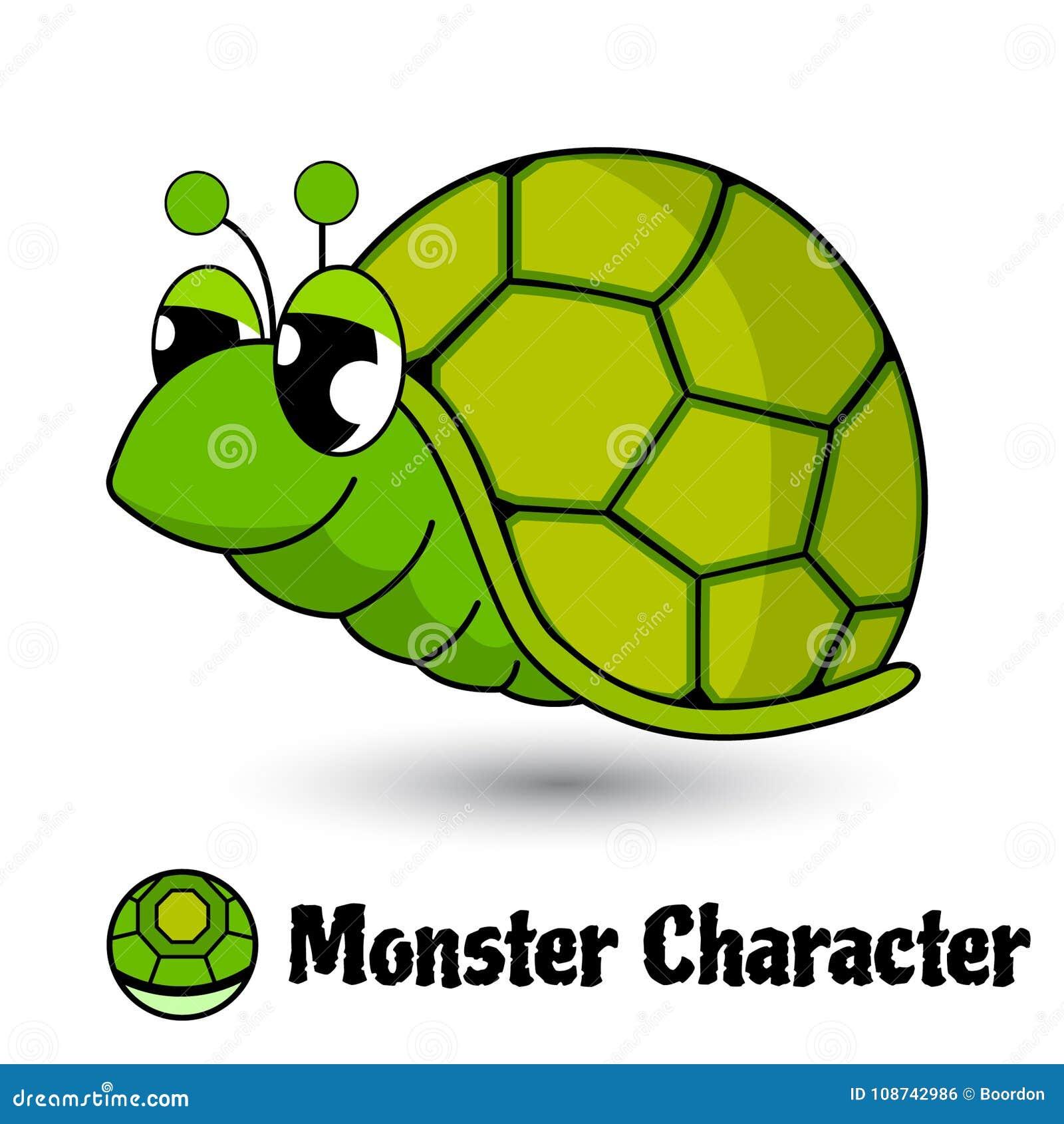 Héroe lindo o monstruo de la tortuga verde de los caracteres en estilo de la historieta aislado