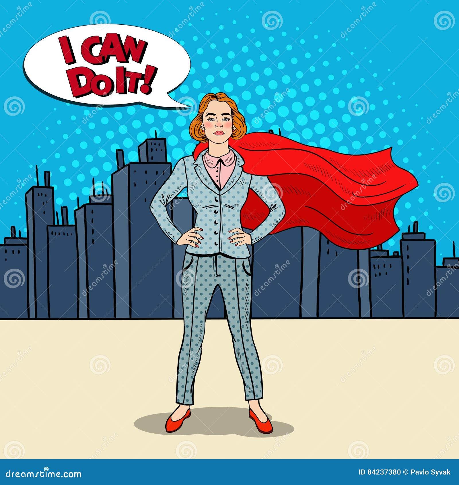 Héros d Art Confident Business Woman Super de bruit dans le costume avec le cap rouge