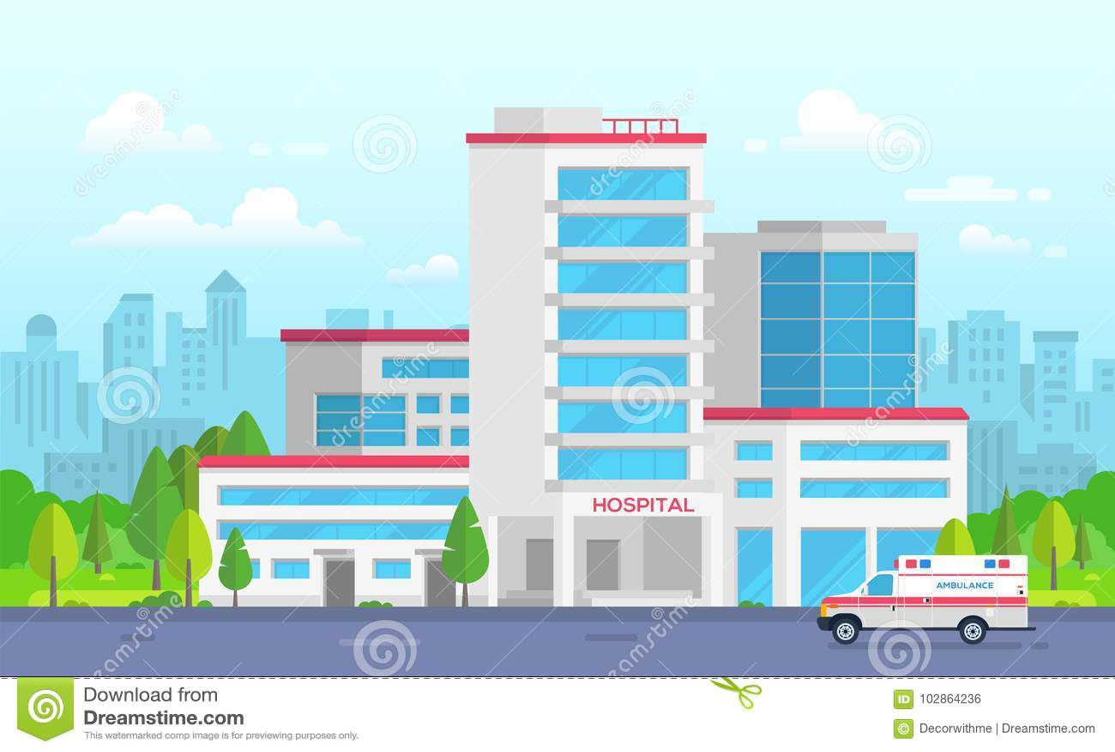 Hôpital de ville avec l ambulance - illustration moderne de vecteur