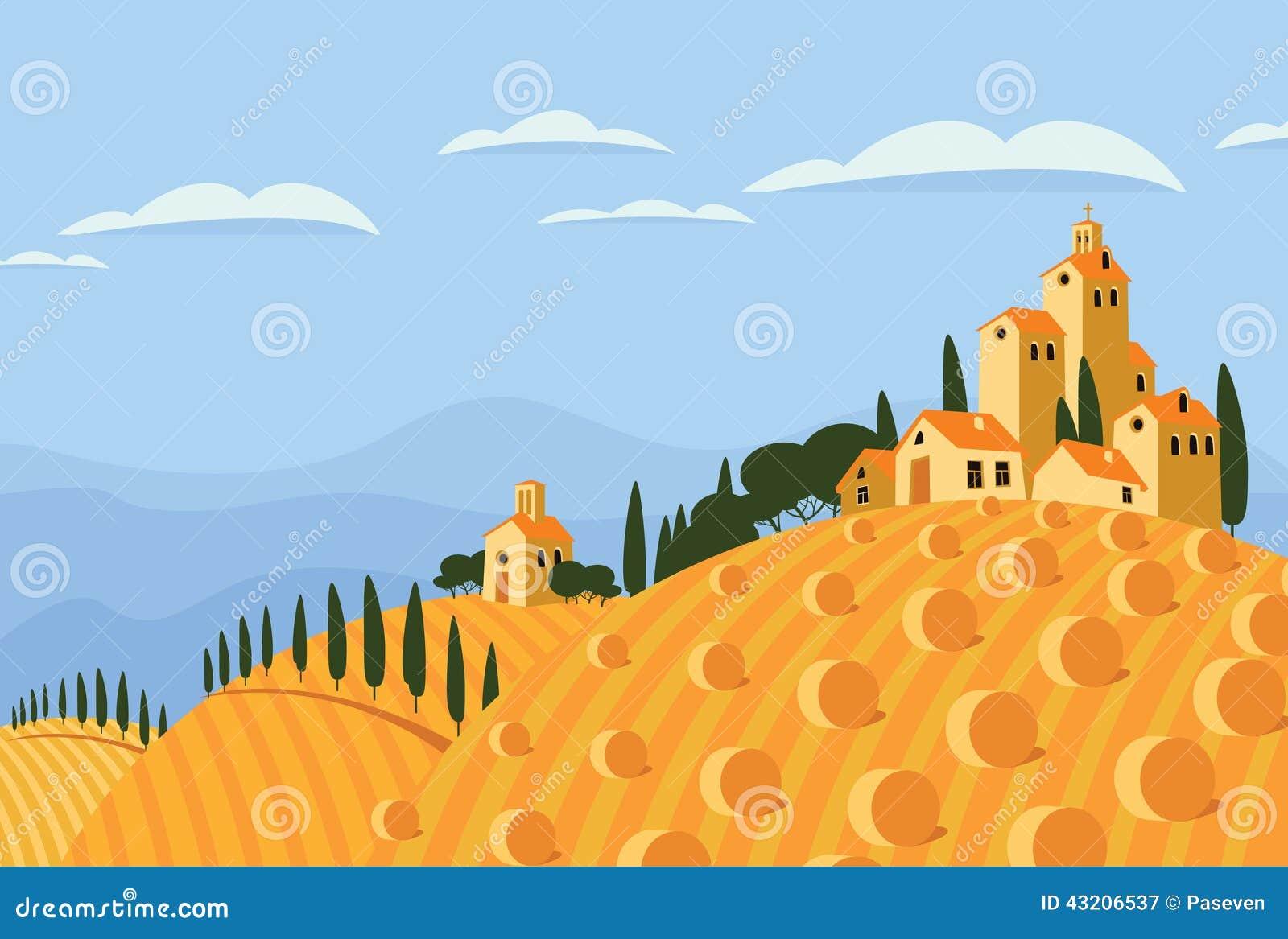 Download Hö i den italienska bygden vektor illustrationer. Illustration av italienare - 43206537