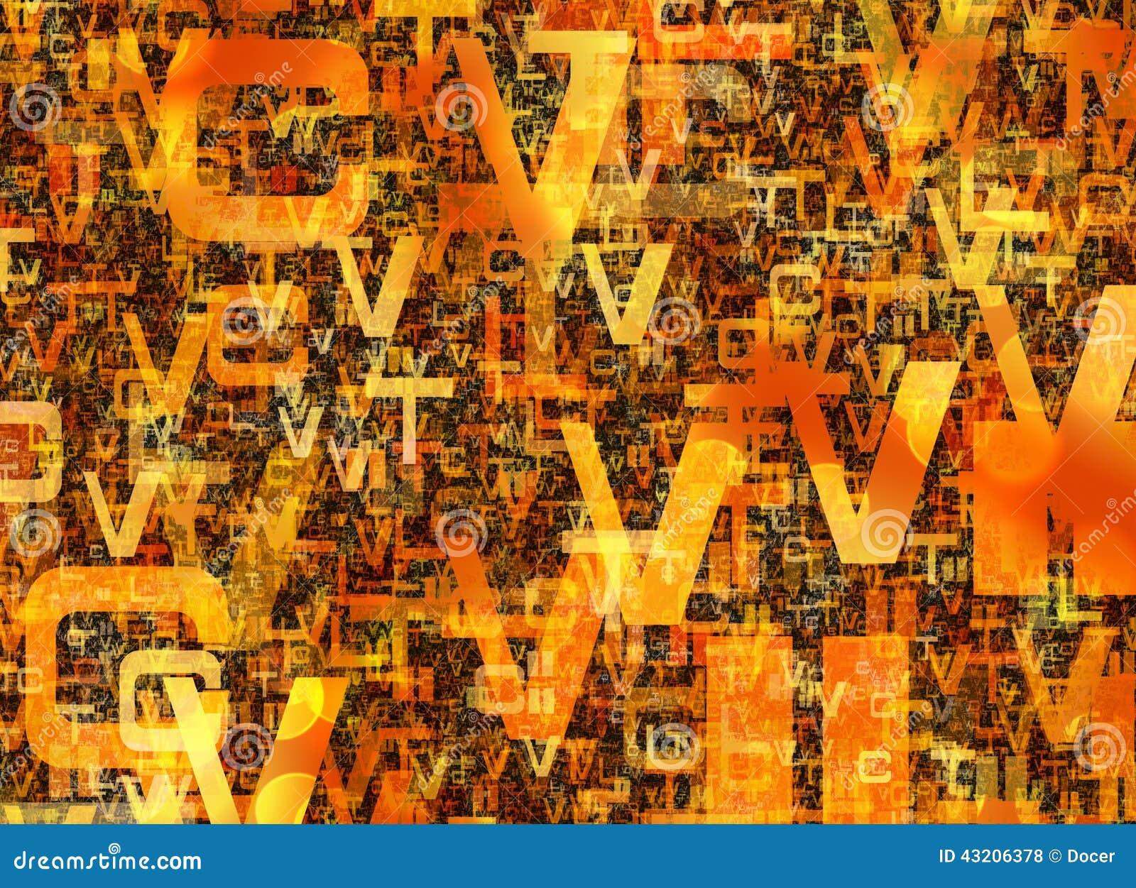 Download Hög Av Abstrakta Kaotiska Orange Alfabetbokstäver Stock Illustrationer - Illustration av boktryck, bokstav: 43206378