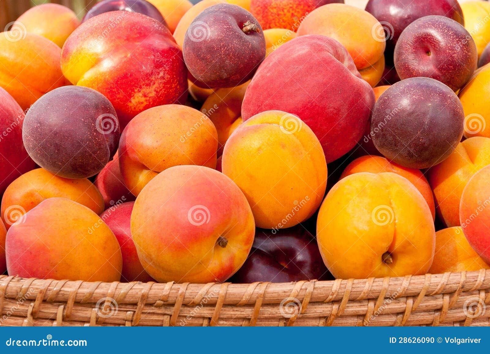 Hög av färgrika sommarfrukter.