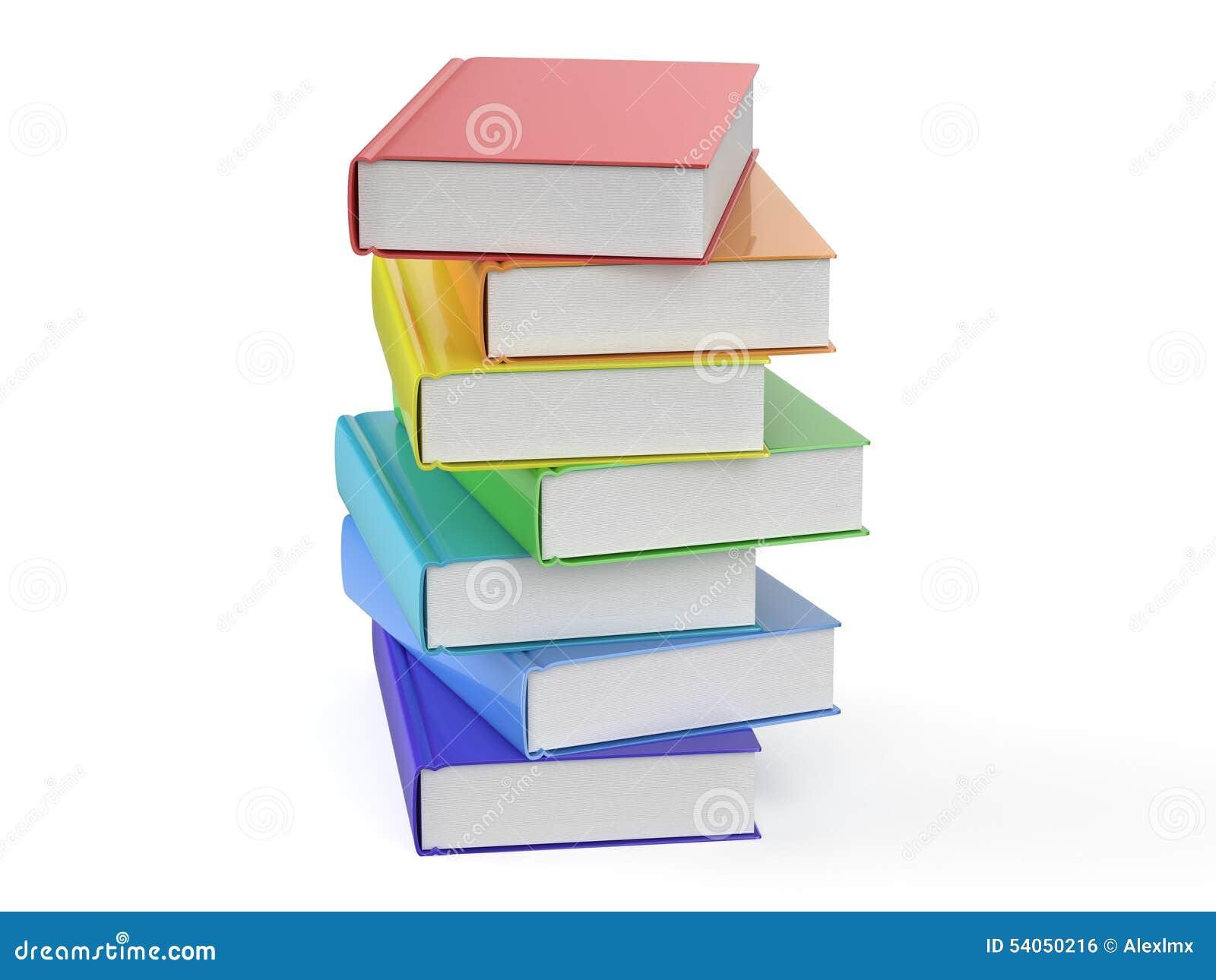 Hög av mångfärgade böcker