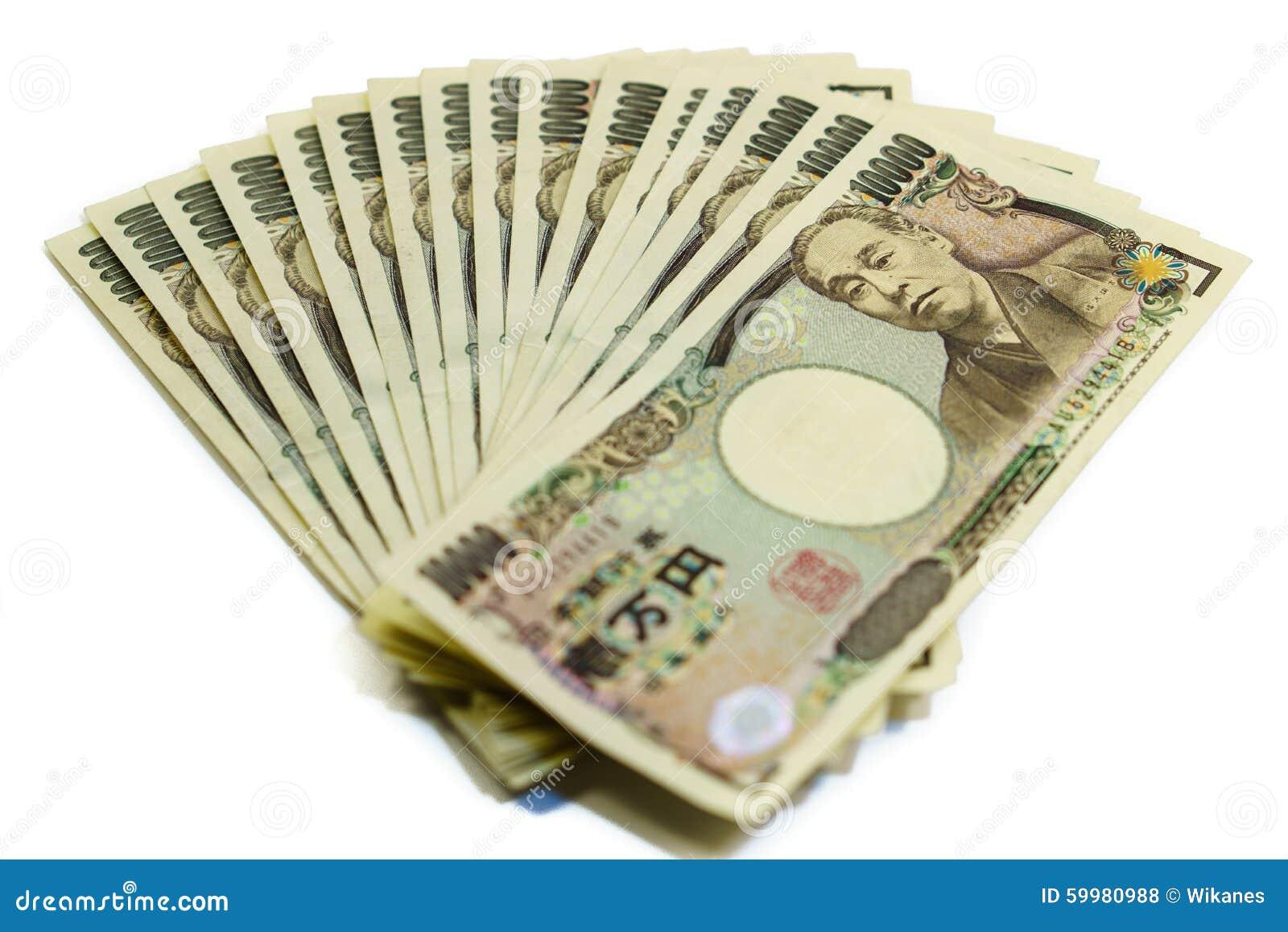 Hög av räkningar för japansk yen som isoleras
