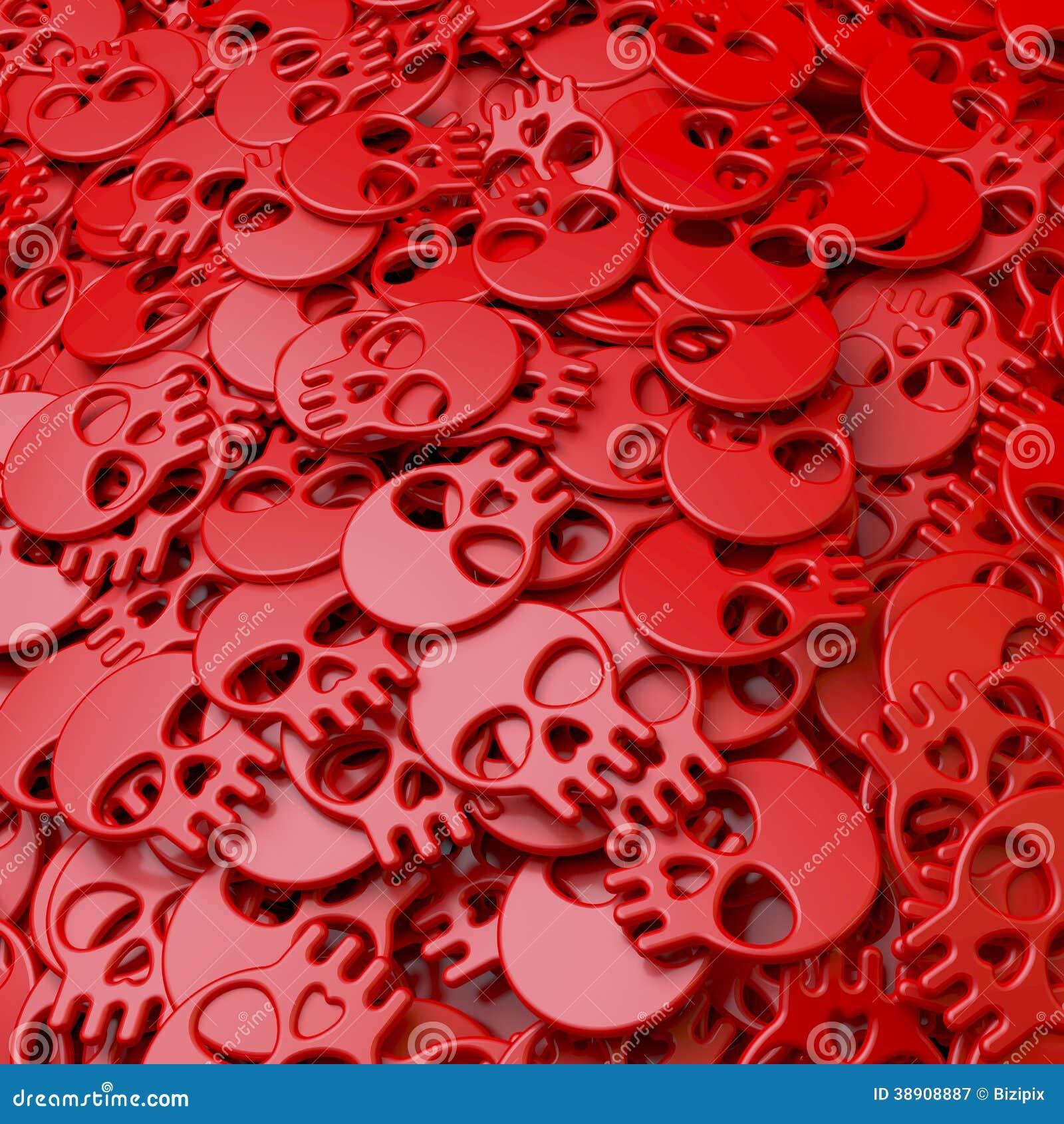 Hög pöl, klunga av röda skallar