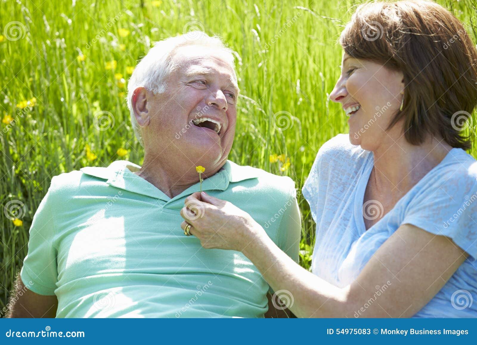 Höga par som tillsammans kopplar av i sommarfält