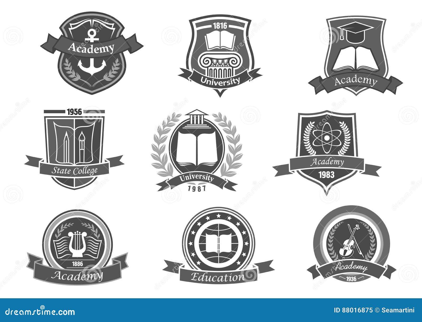 Högskola- eller universitetvektorsymboler eller emblem ställde in