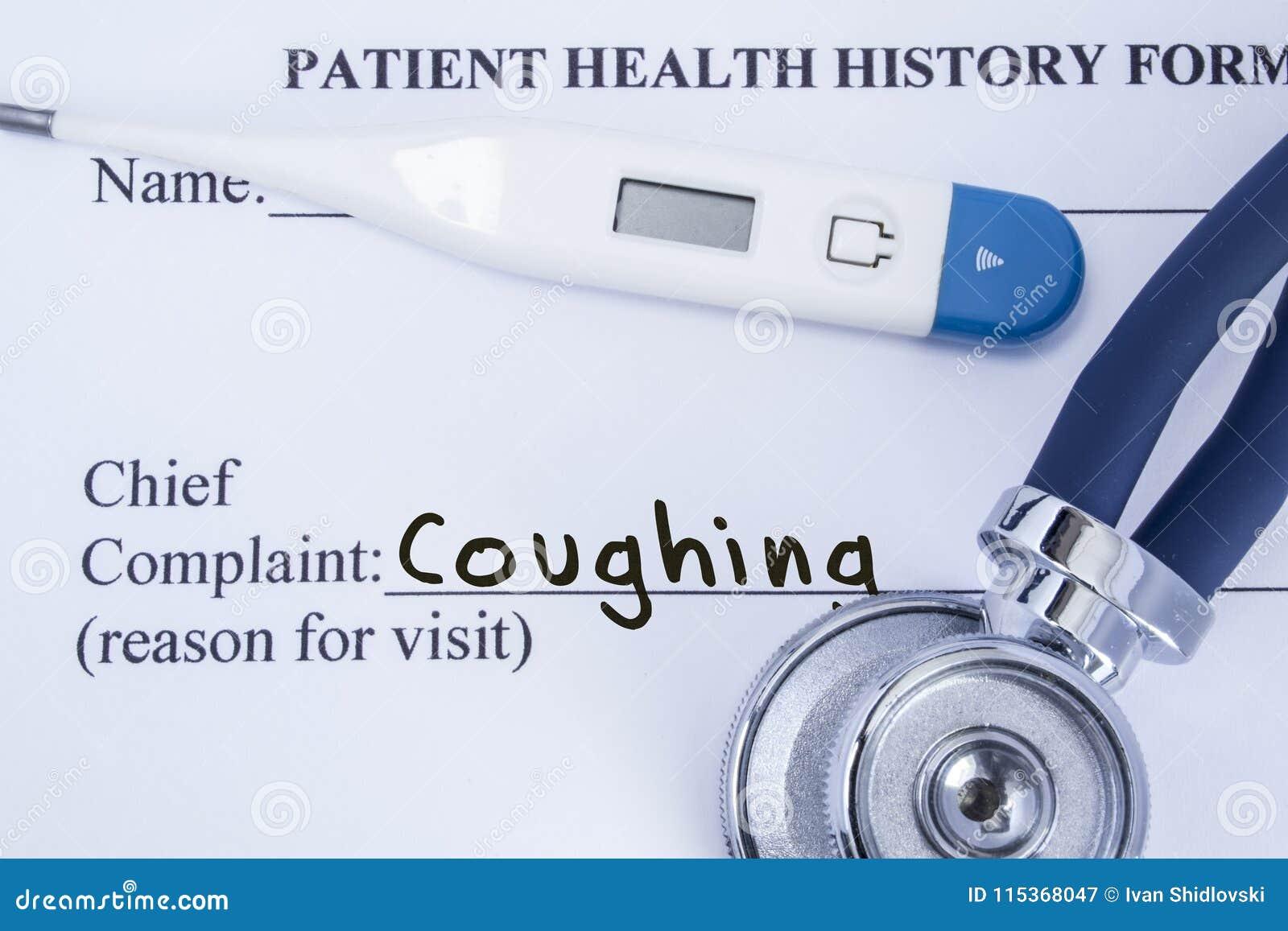 Högsta hosta för klagomål Pappers- tålmodig vård- historieform, på vilket är skriftligt klagomålet som hostar som huvudorsaken fö