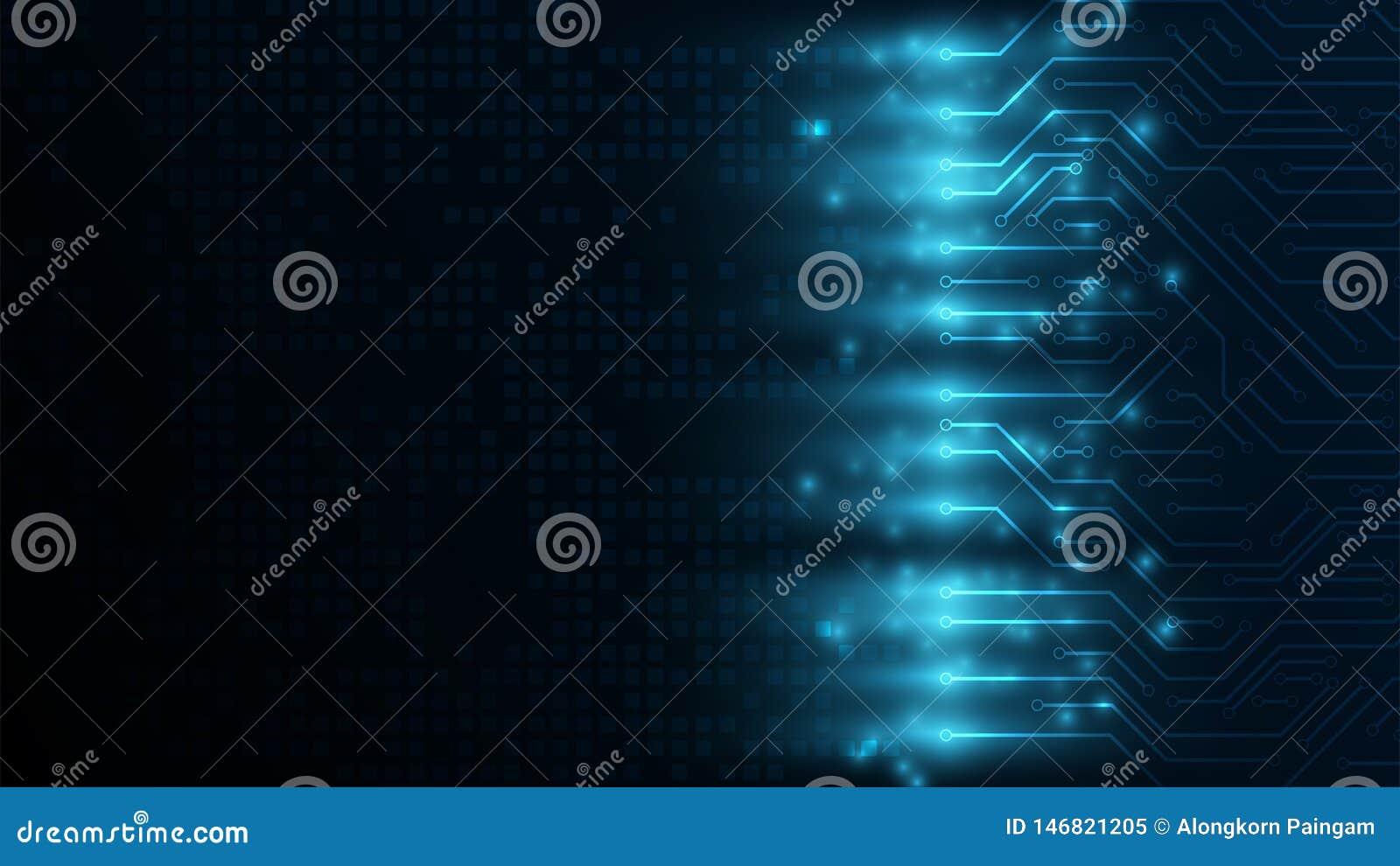 Högteknologiskt begrepp för digital kommunikation på det mörkt - inforgraphic blå bakgrund fo digital abstrakt bakgrund