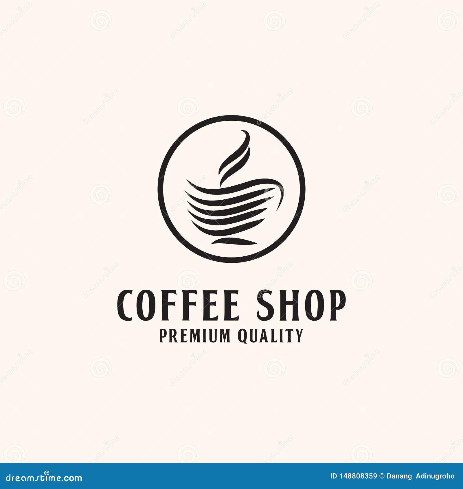 Högvärdig coffee shop Logo Design, med linjen stil