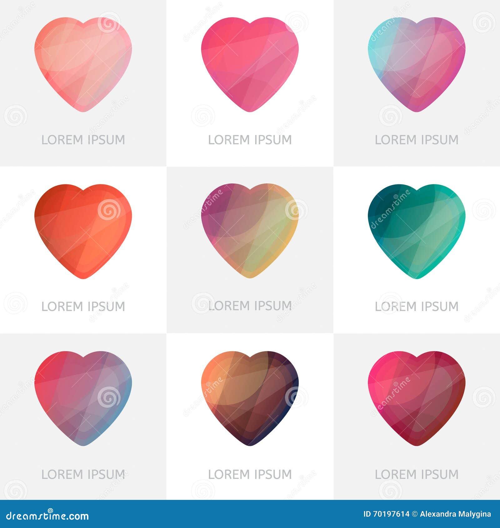 Högvärdig färgrik uppsättning av geometriska logohjärtasymboler i låg poly stil