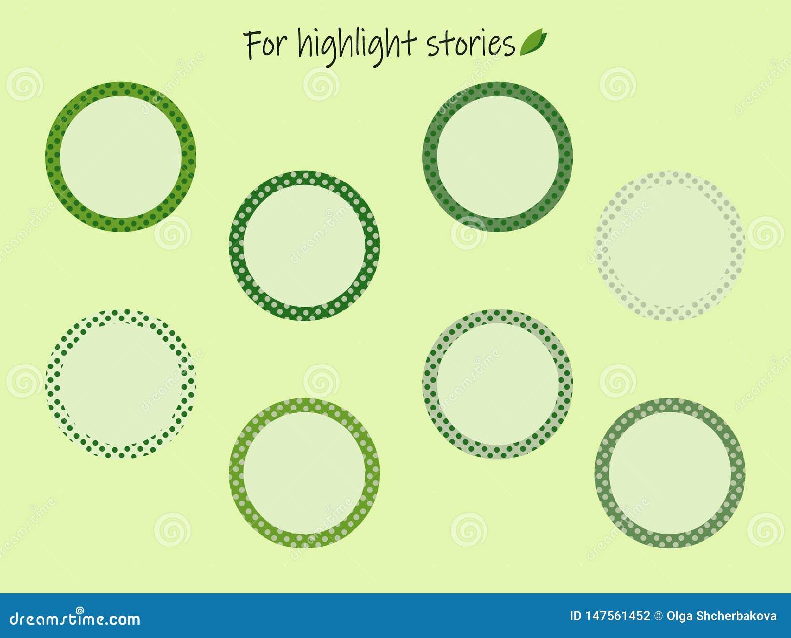 Höhepunkt-Geschichtenikonen mit grünen Erbsen für die Aufschriften