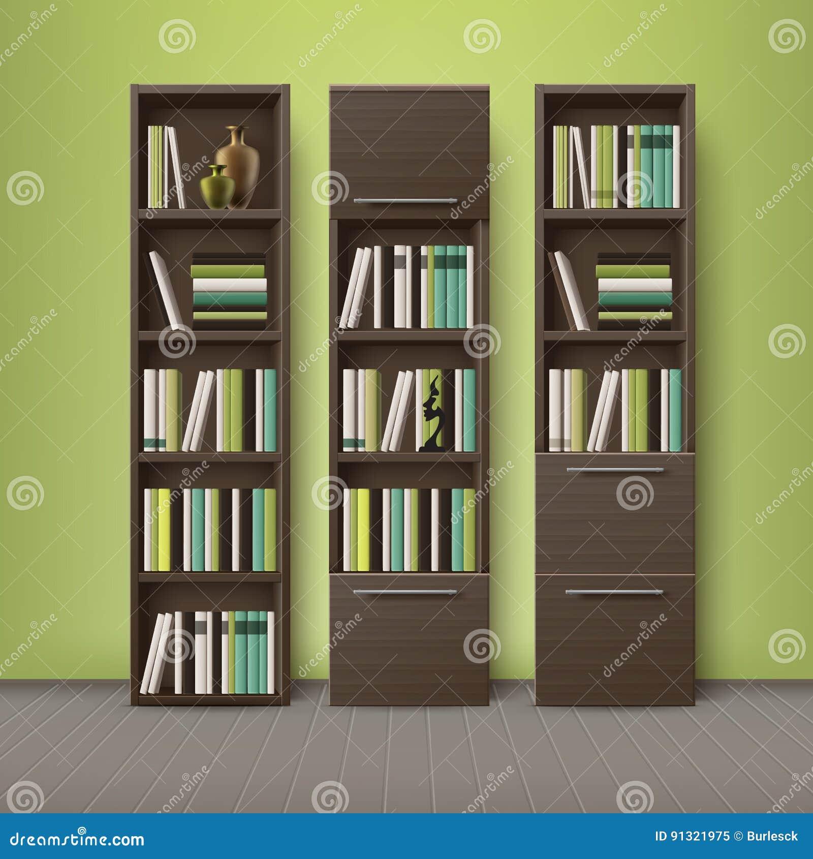 Hölzerne Bücherschränke Browns Vektor Abbildung - Illustration von ...