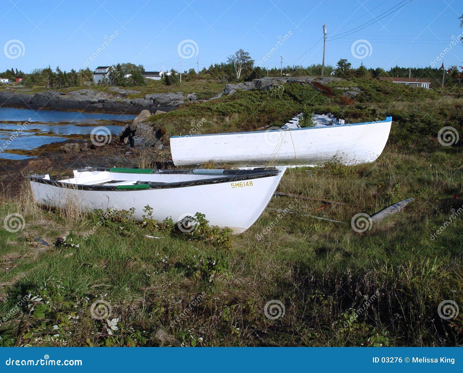 Hölzerne Boote auf Land