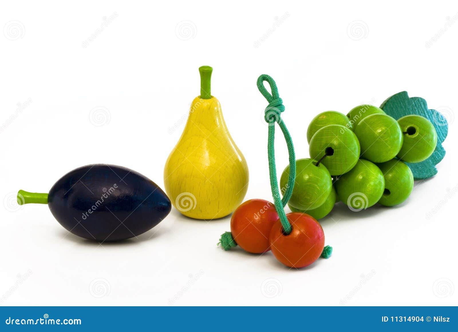 Hölzerne Früchte Pflaume, Birne, Kirsche, Trauben