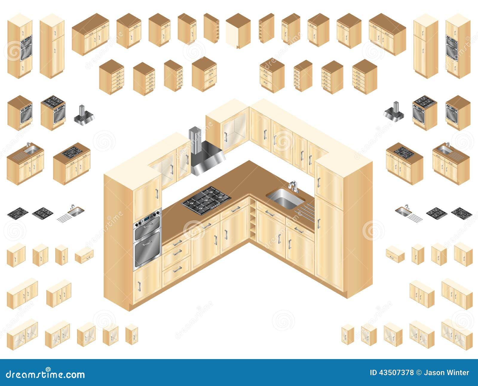 Hölzerne Küchen-Elemente vektor abbildung. Illustration von ...
