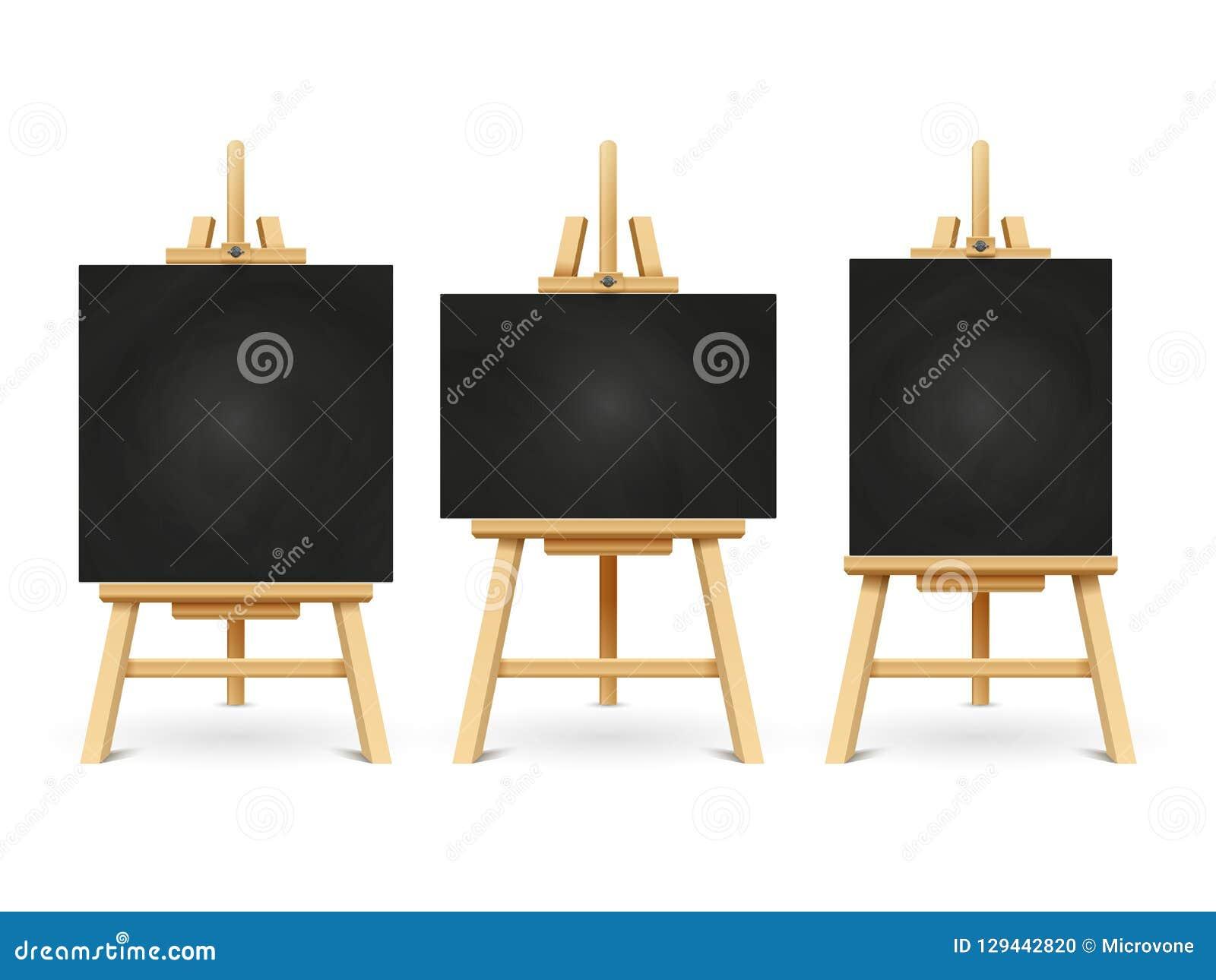 Hölzerne Kreidegestelle oder Malereikunstbretter lokalisiert auf weißem Hintergrund