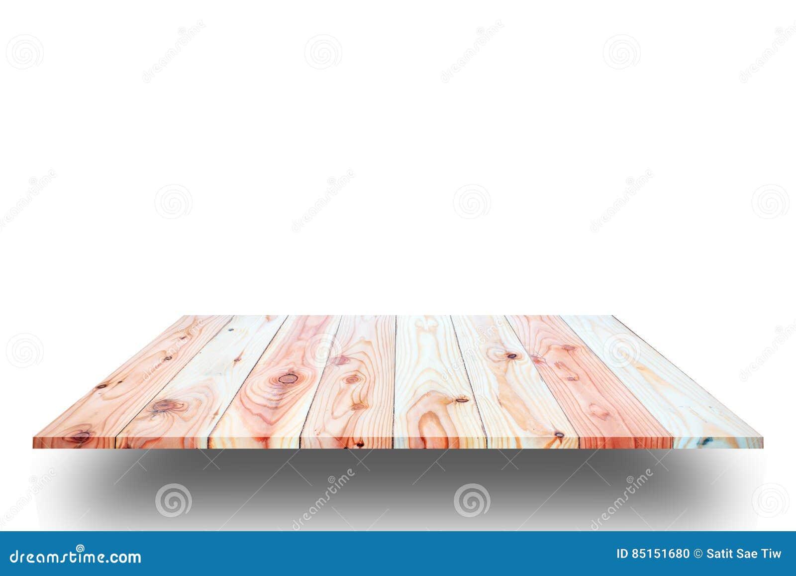 Hölzerne Plankenregale und weißer Hintergrund