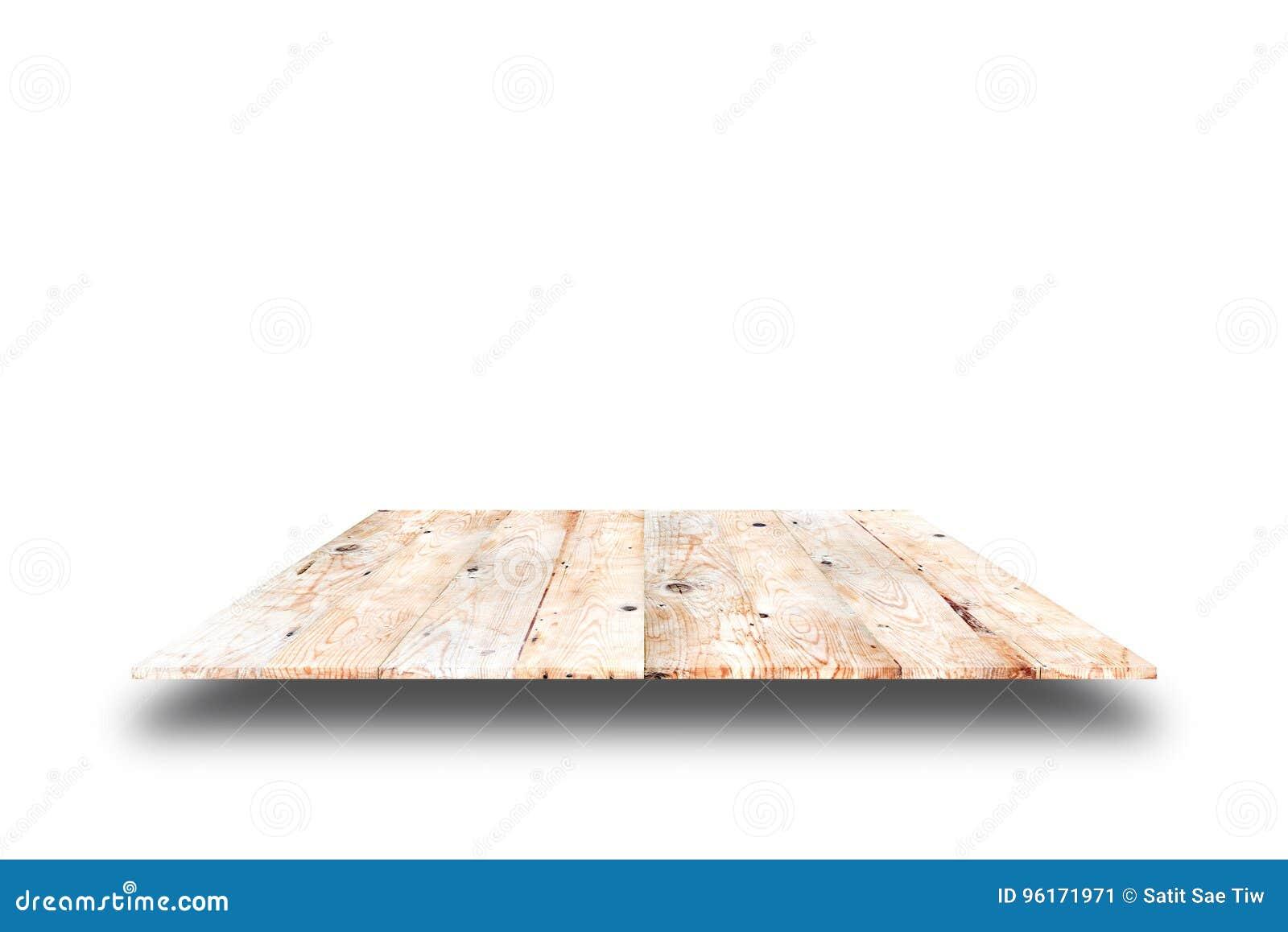 Hölzerne Plankenregale und weißer Hintergrund Für Produktanzeige