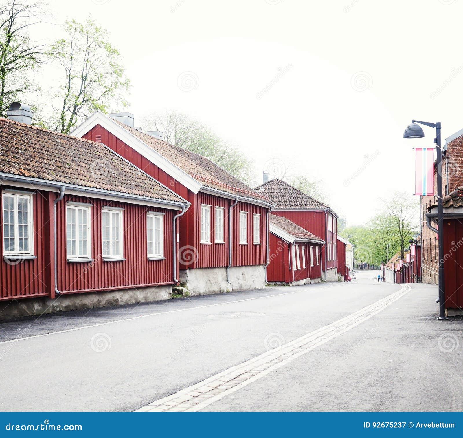 Hölzerne Stadt des alten Dorfs von Moss Norway