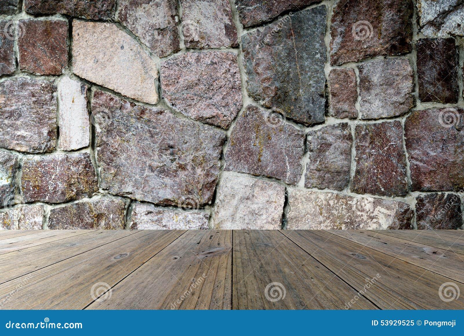 Hölzerne Terrasse Und Steinwand Stockbild Bild Von Portal