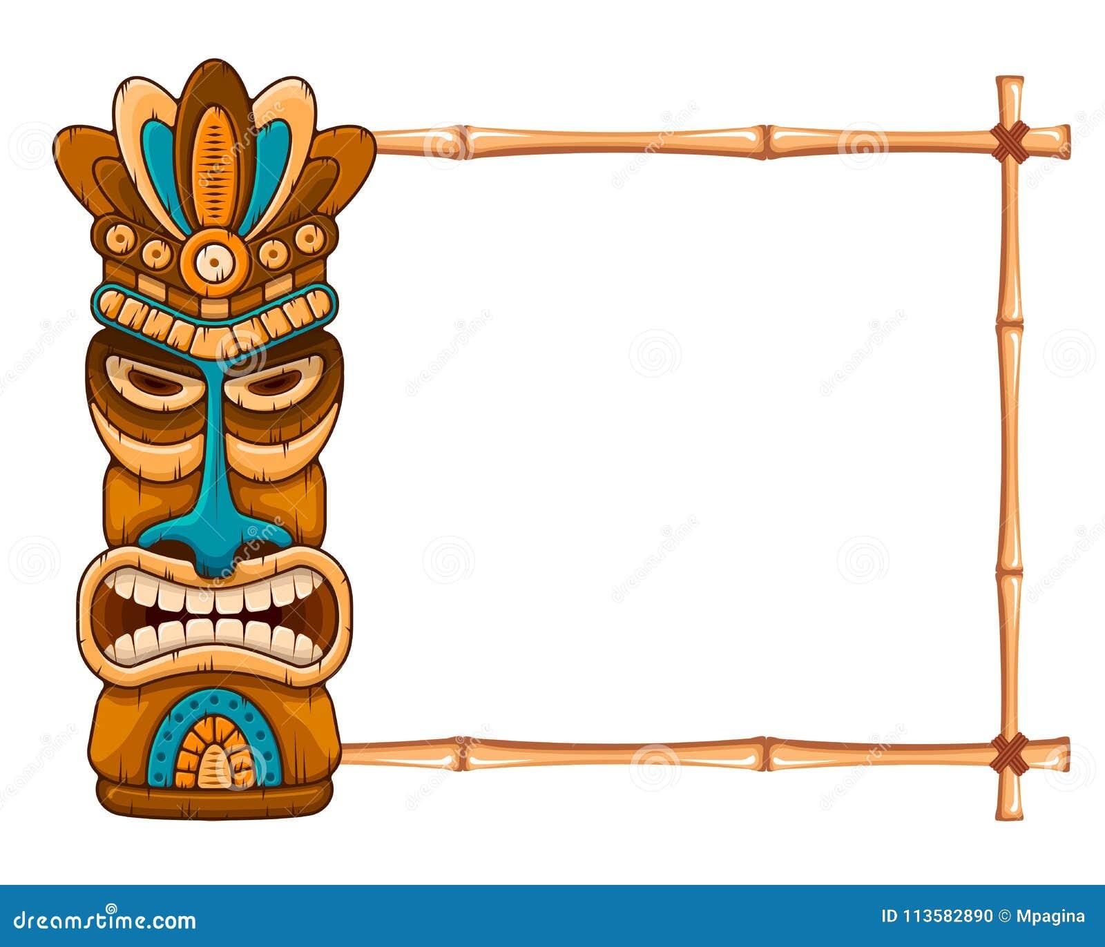 Hölzerne Tiki-Maske Und Bambusrahmen Vektor Abbildung - Illustration ...