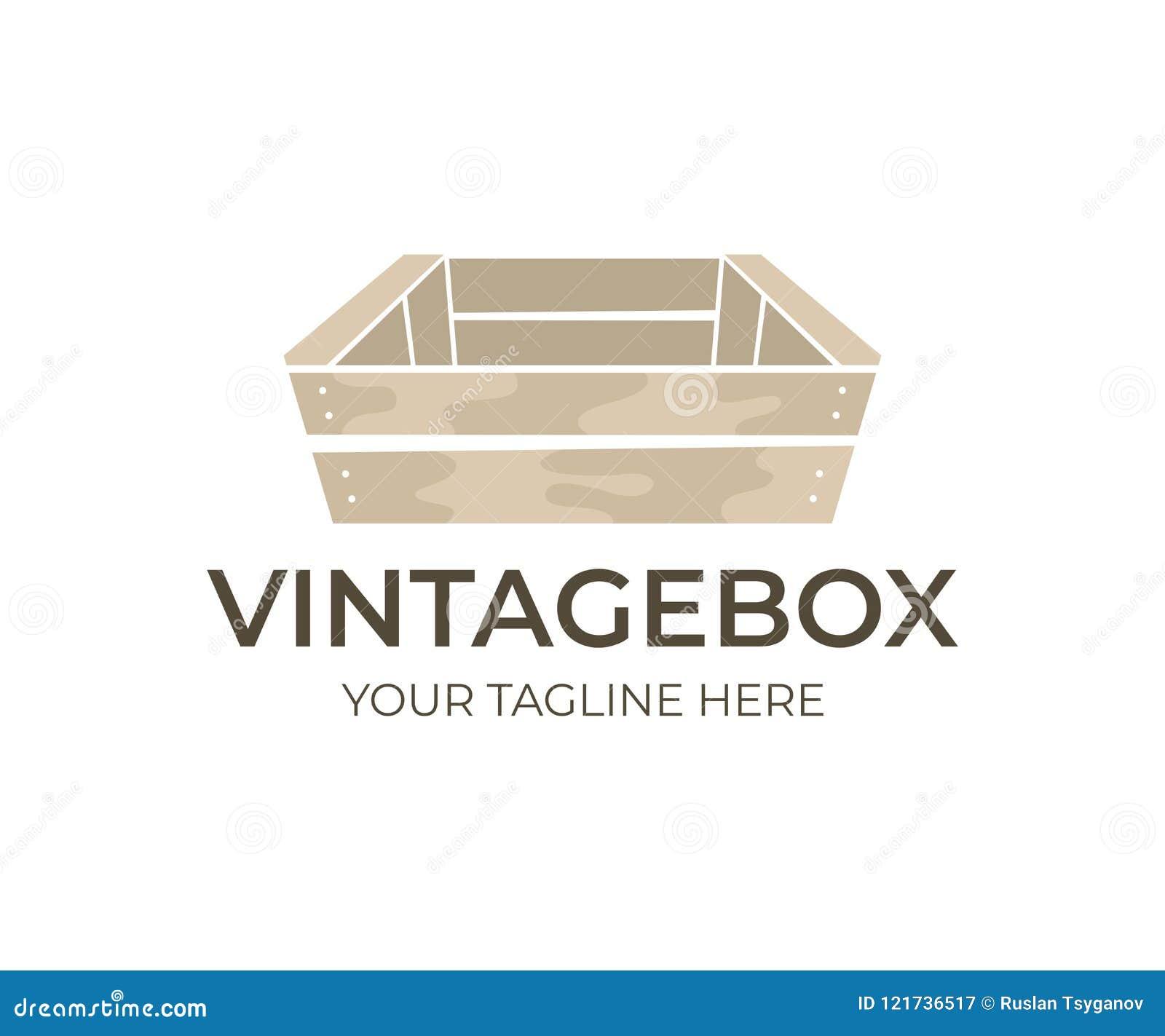Hölzerne Weinlese und alter Kasten, Logodesign Holzkisten für Transport- und Speicherlebensmittel, Frucht, Gemüse und Getränk, Ve