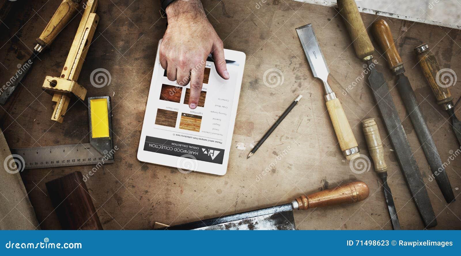 Hölzerne Werkstatt Tischler-Craftmanship Carpentry Handicrafts Conc