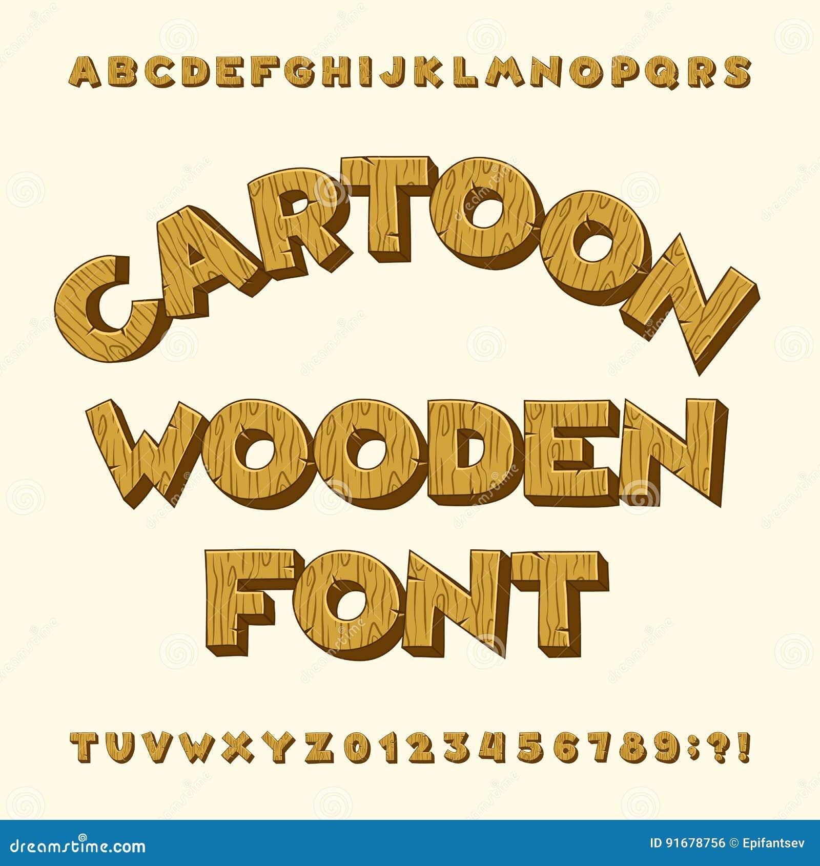 Hölzerner Alphabetguß der Karikatur Schreiben Sie Buchstaben, Zahlen, Symbole