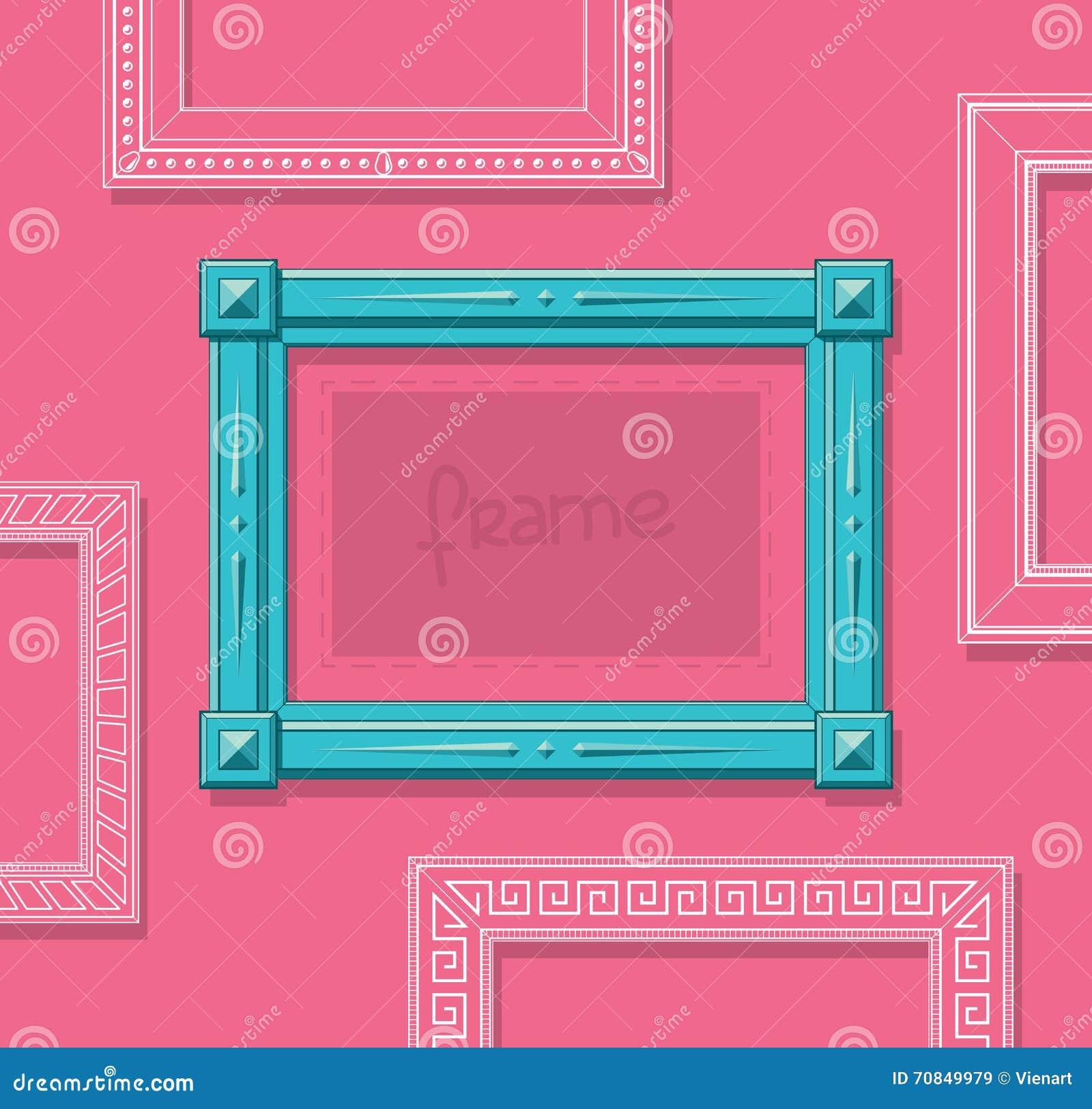 hölzerner flacher vektor des bilderrahmens stilvoller blauer