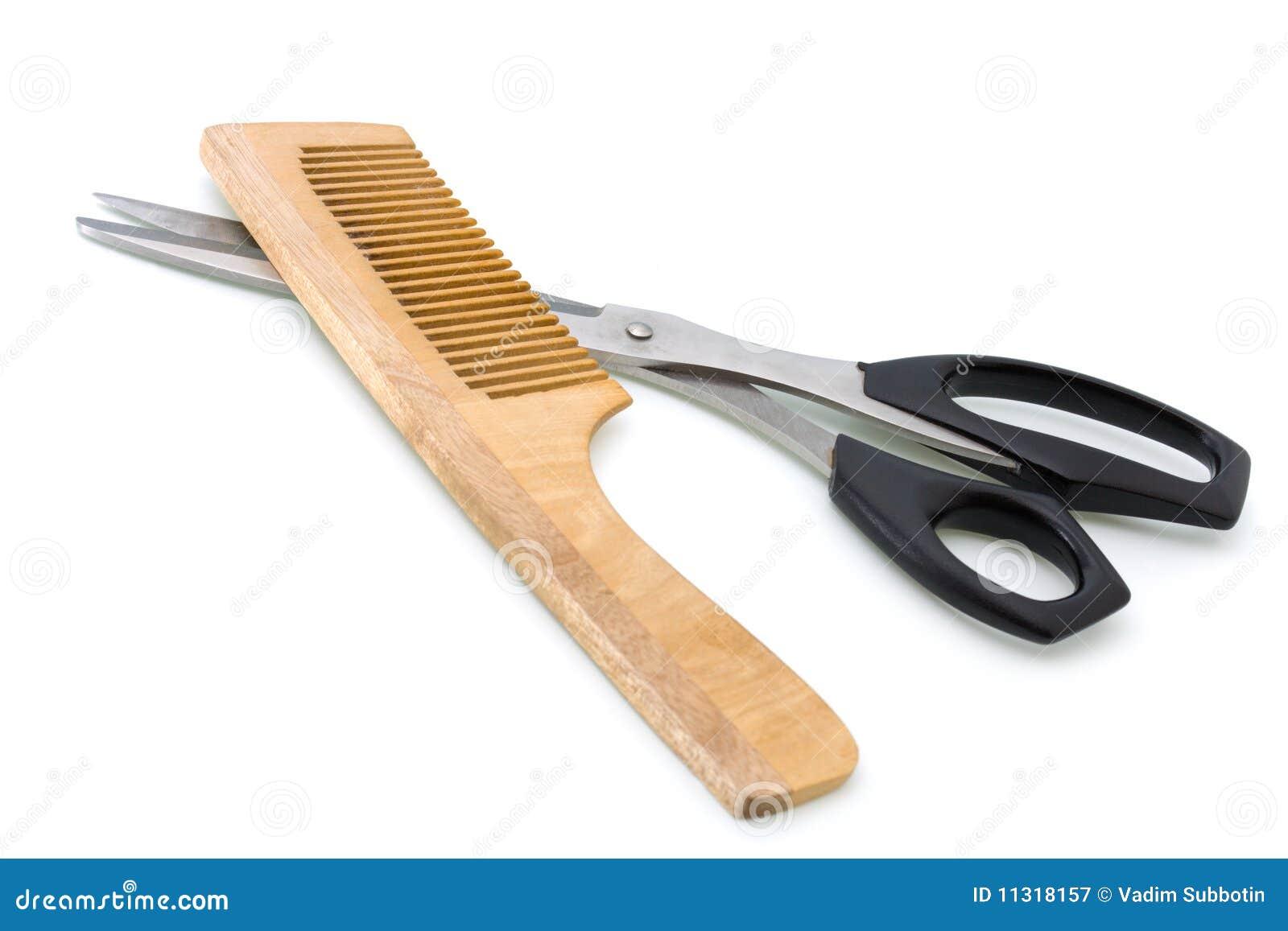 Hölzerner Hairbrush und Scheren