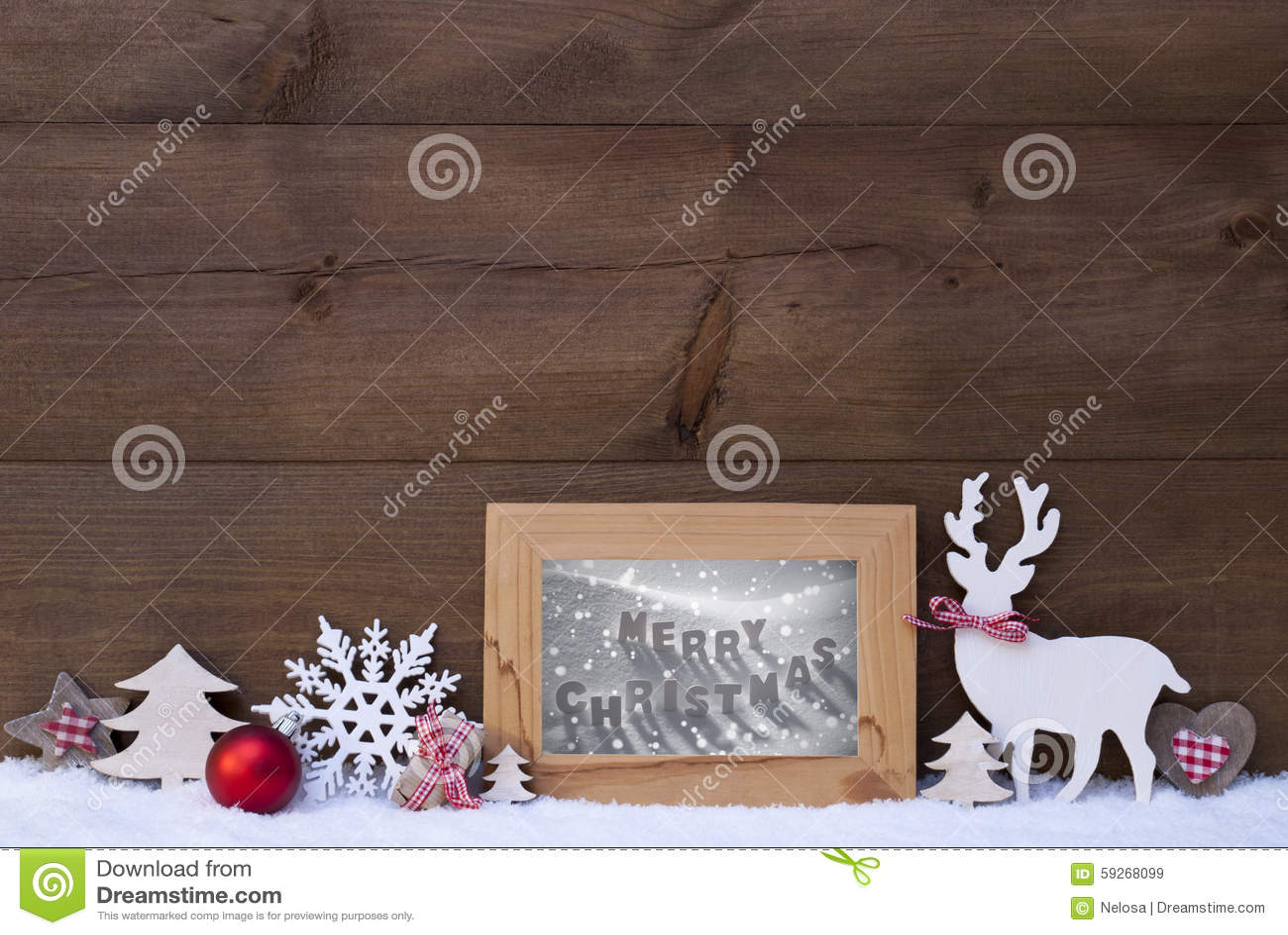 Hölzerner Hintergrund-Schnee-Rahmen-frohe Weihnachten Stockbild ...