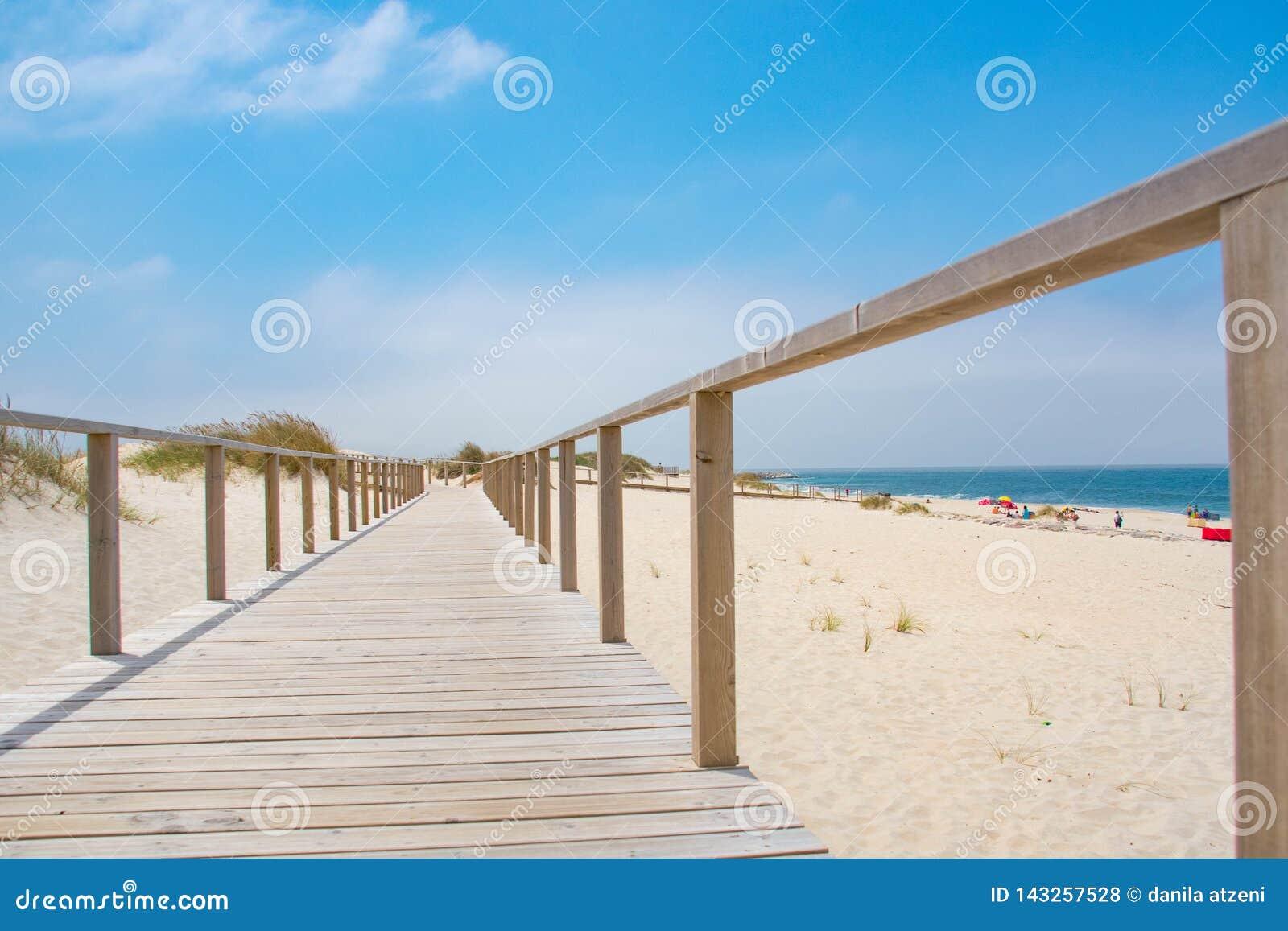 Hölzerner Weg mit Atlantik-Ansicht