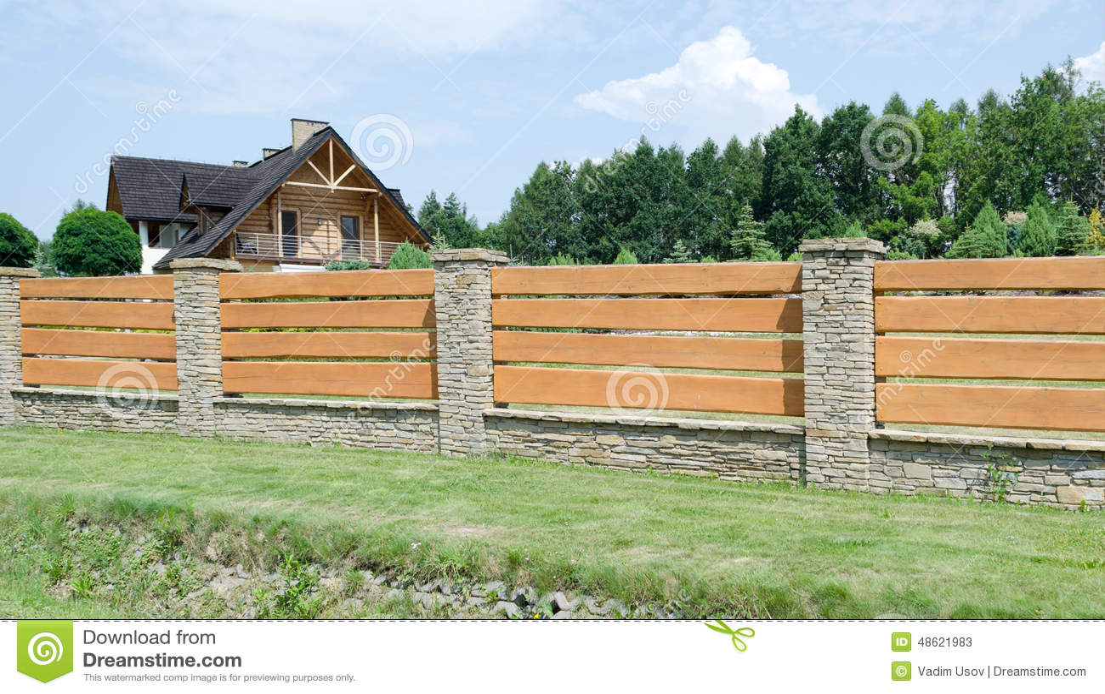 Holzerner Zaun Stockbild Bild Von Park Hinterhof Niemand 48621983