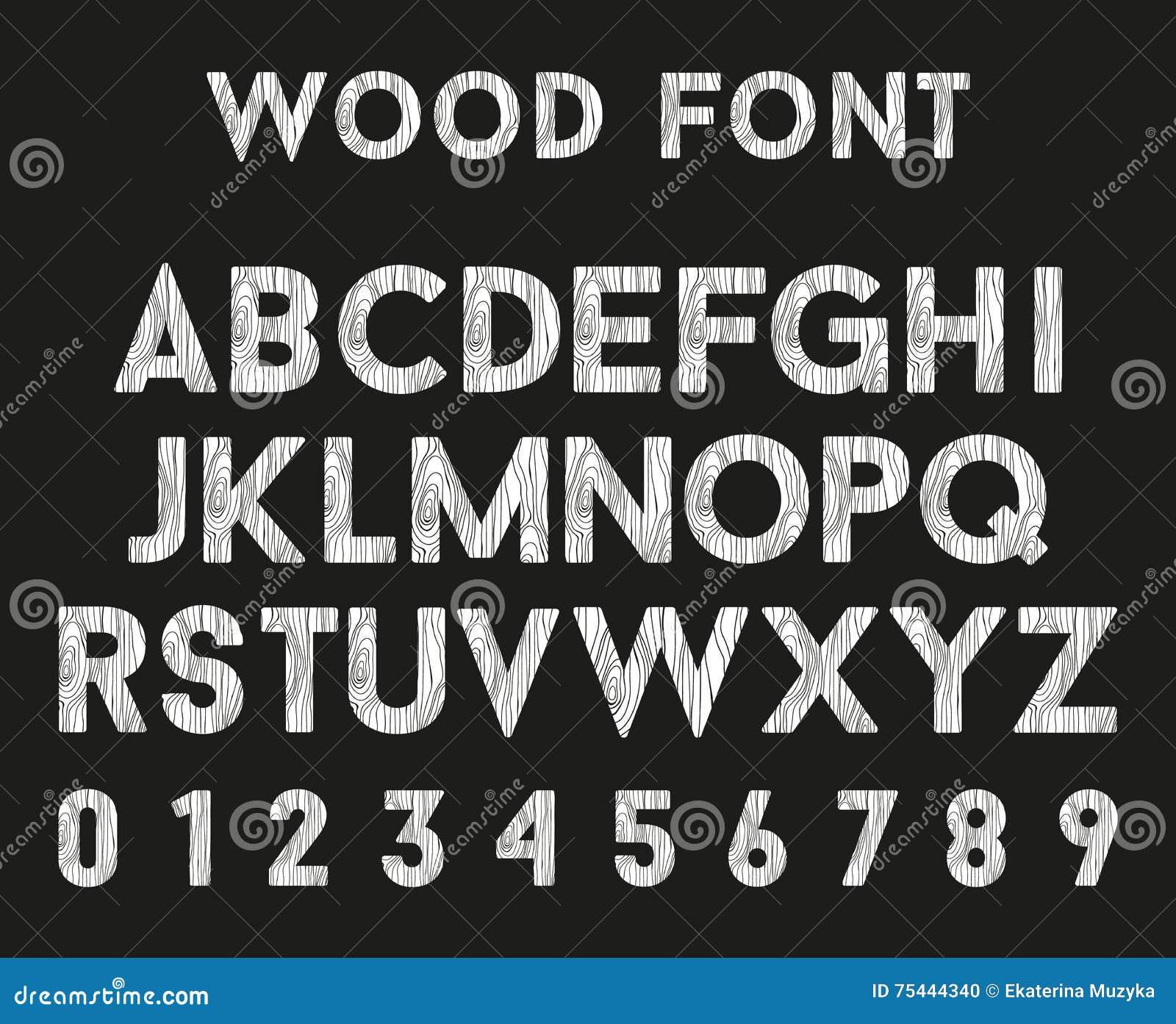 Hölzernes Alphabet mit Buchstaben und Zahlen Vektorguß in der hölzernen Art