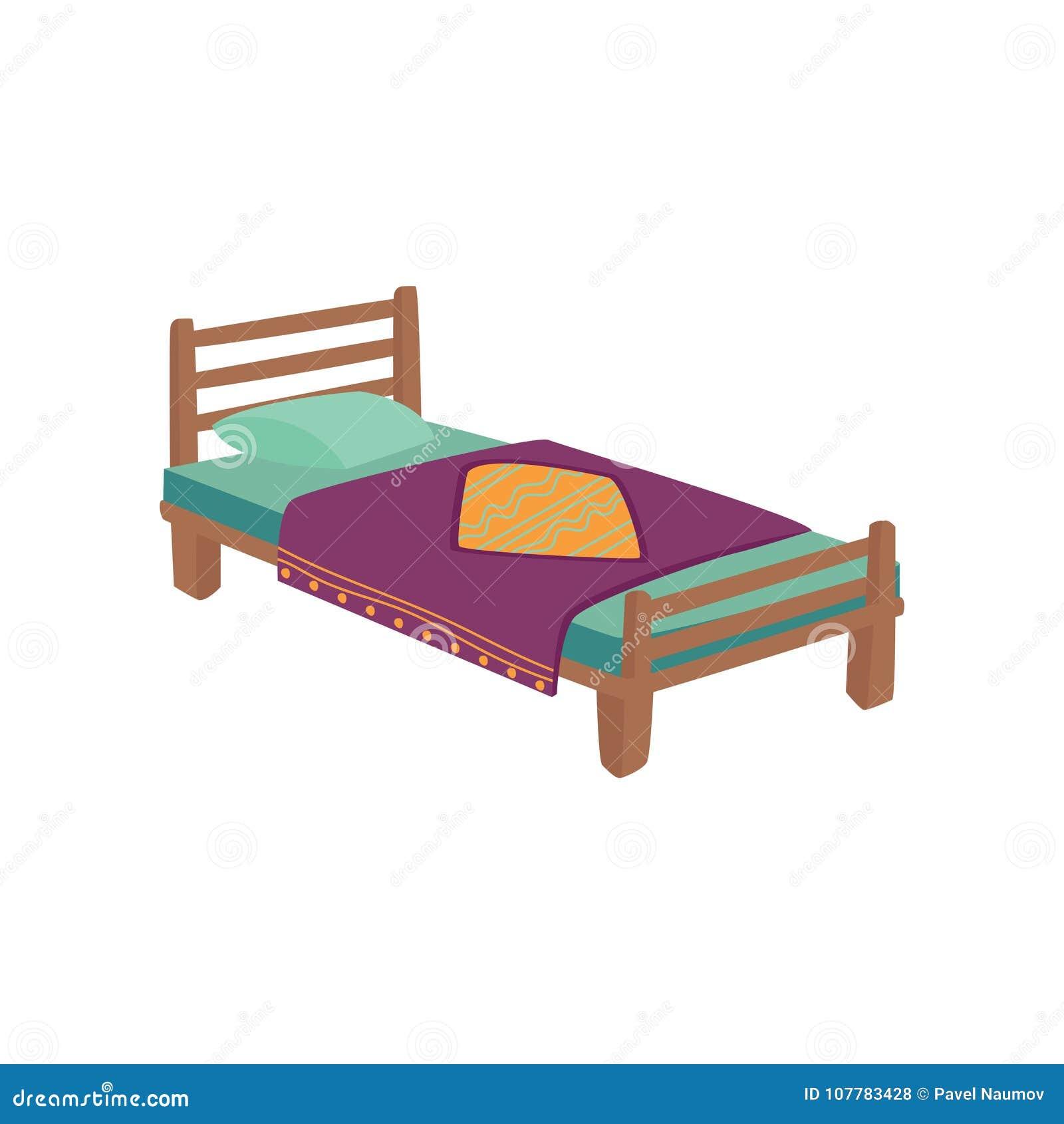 Holzernes Bett Fur Kinder Mit Kissen Und Purpurrote Umfassende