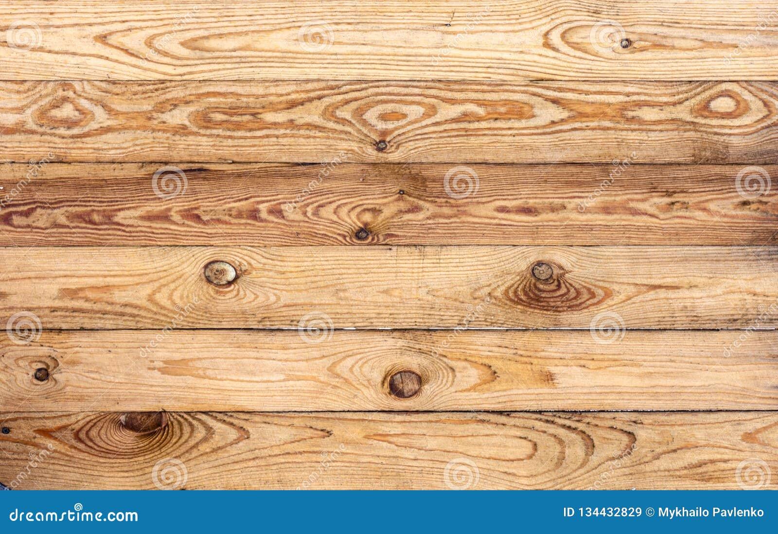 Hölzernes braunes Korngefüge, Draufsicht des hölzernen Wandhintergrundes des Holztischs