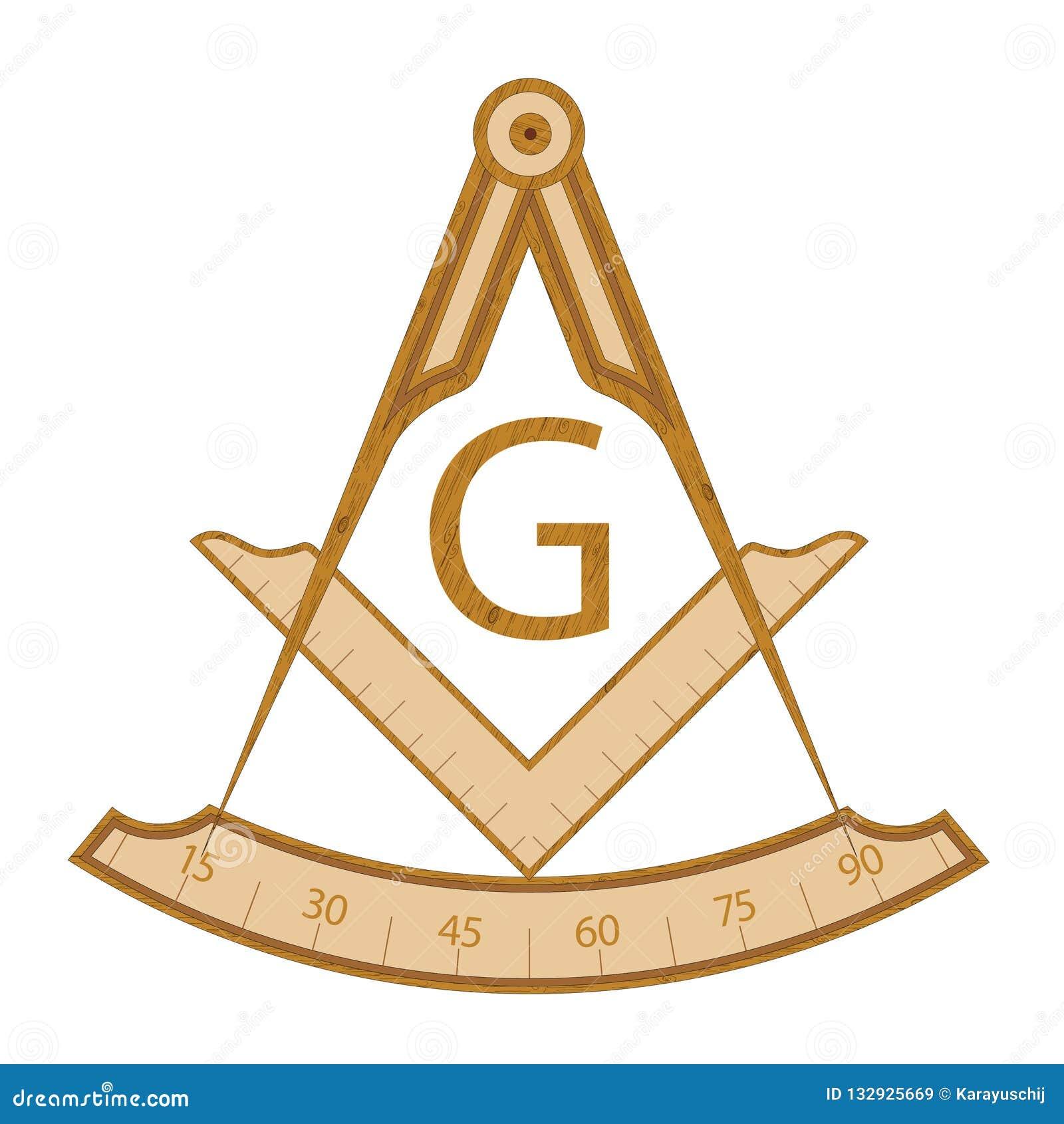 Hölzernes Freimaurerquadrat- und Kompasssymbol