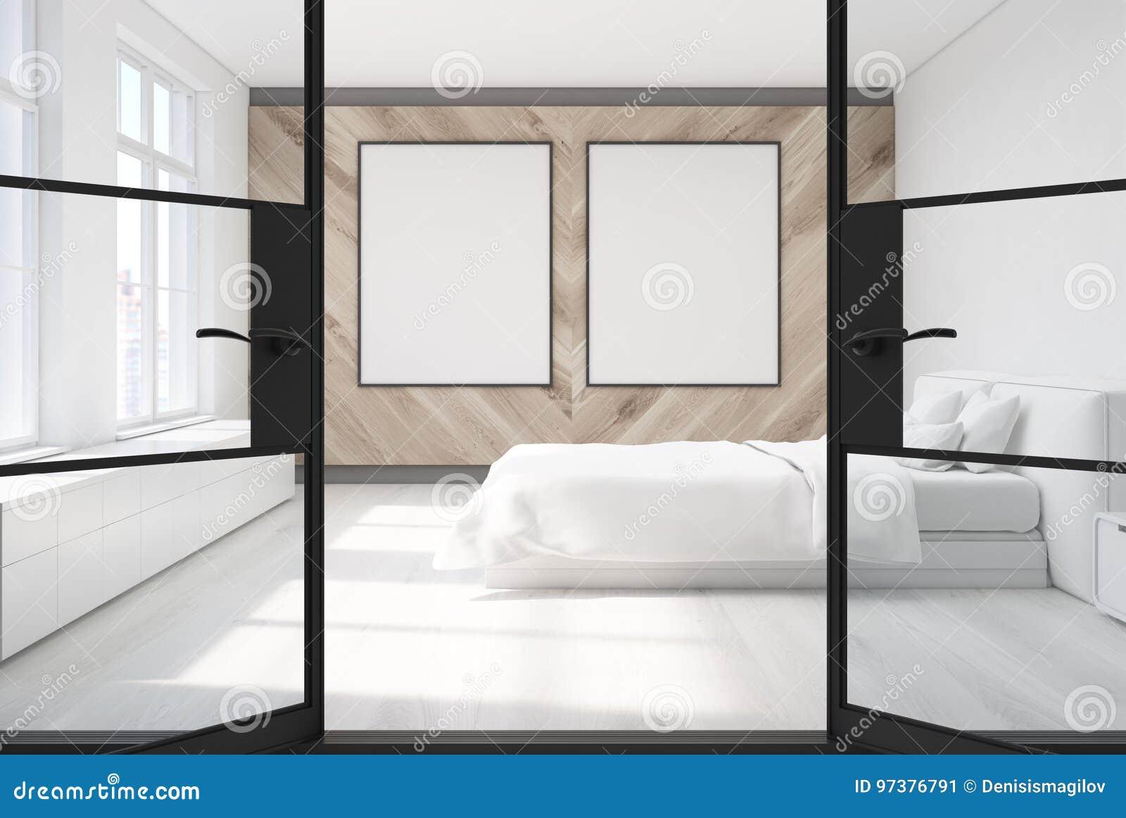Holzernes Schlafzimmer Zwei Poster Tur Stock Abbildung