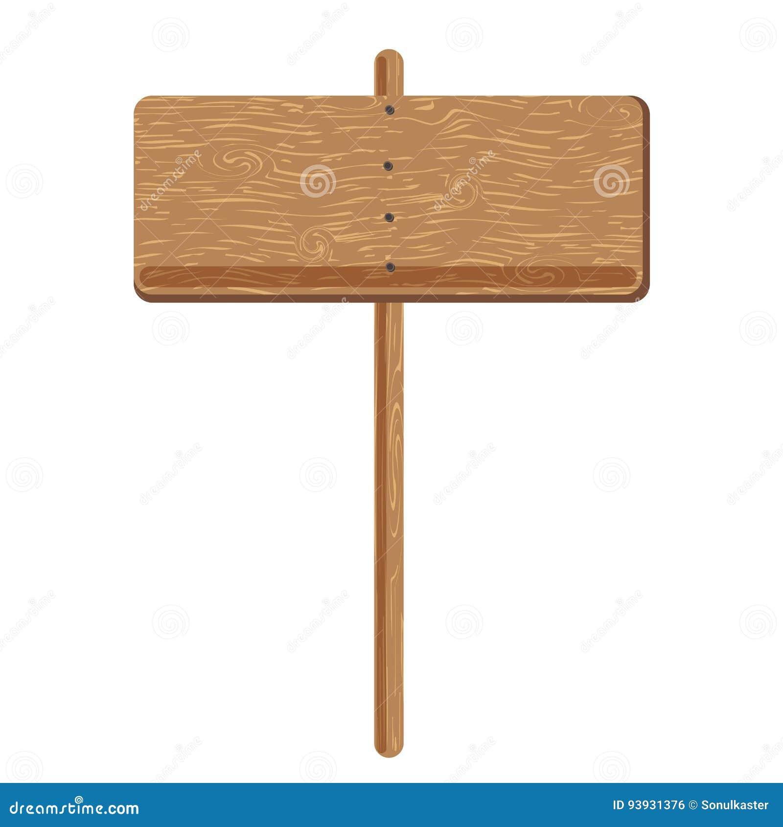 Hölzernes Signage bord oder Werbeschildpfostenvektorikone
