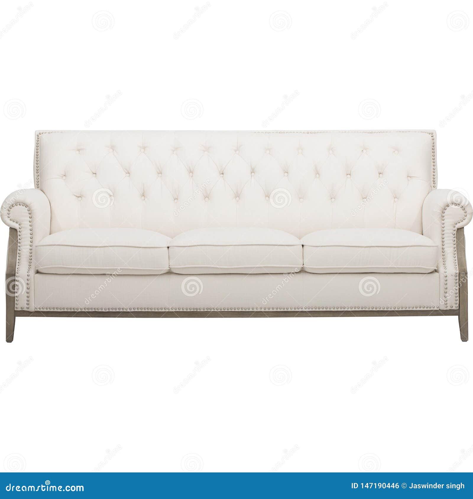 Hölzernes Sofa des bequemen Sahnefarbdreisitzers mit weißem Hintergrund