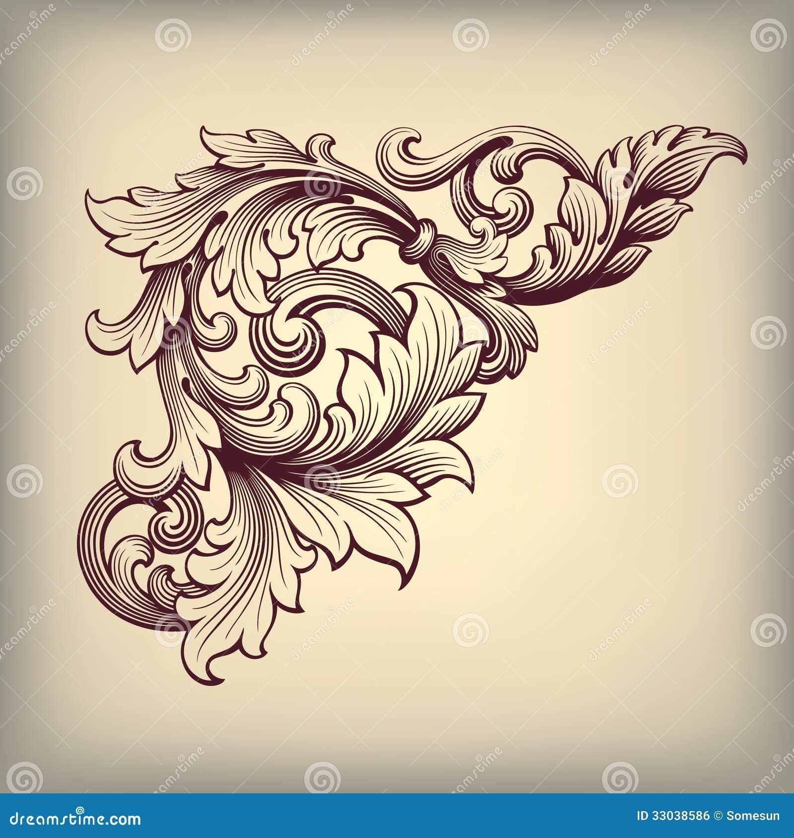 Hörn för ram för vektortappning utsmyckat barockt