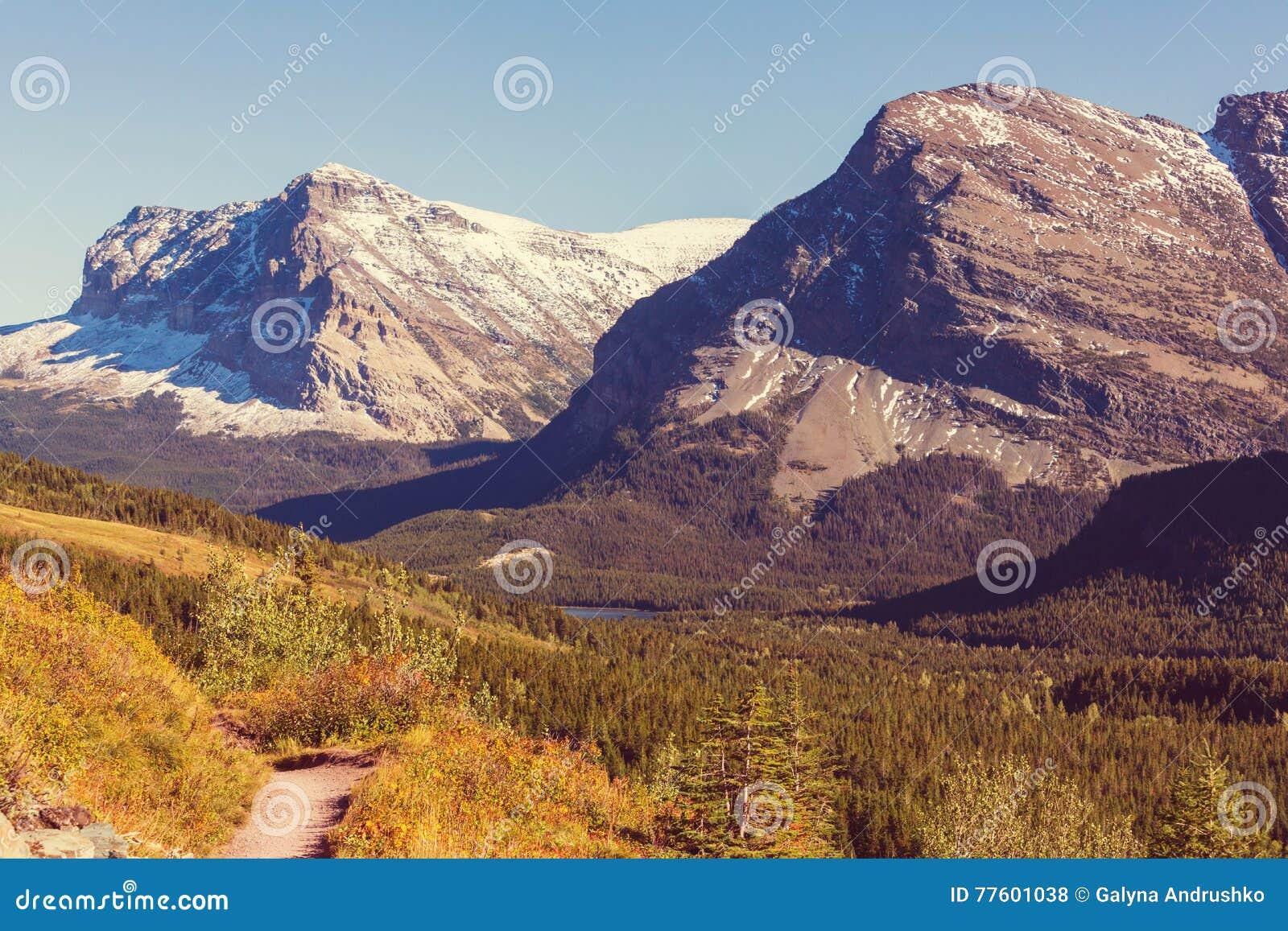 Hösten i glaciär parkerar