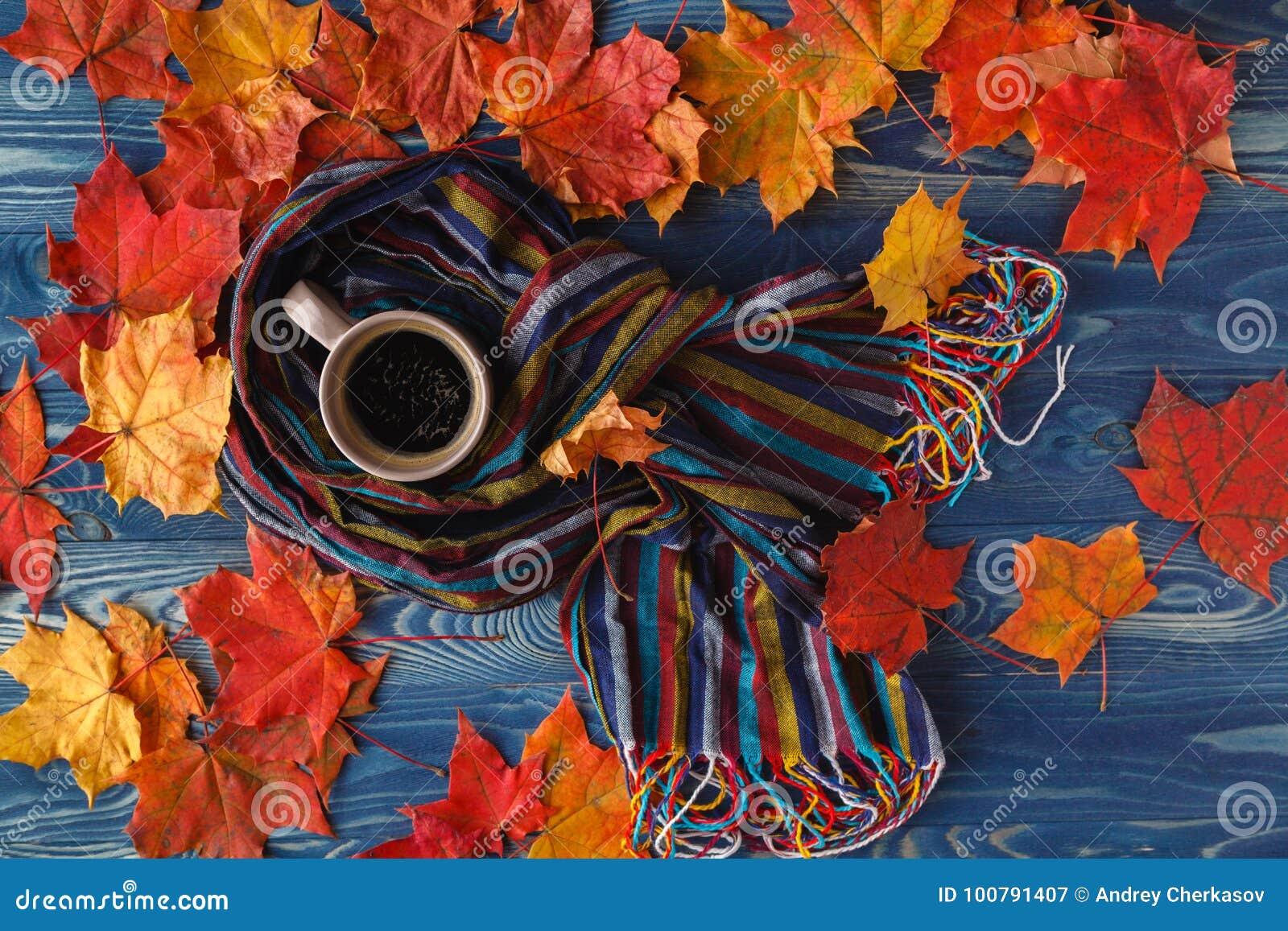 Höststilleben - värme den stack halsduken och koppen kaffe på rost