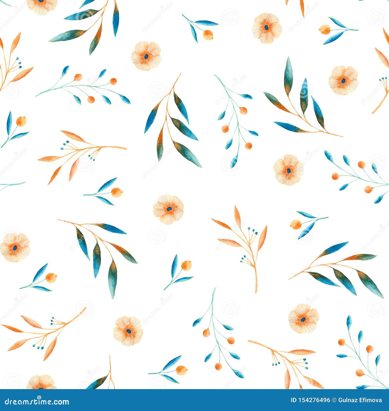 Höstvattenfärgmodell med blåa och orange sidor, champinjoner, bär