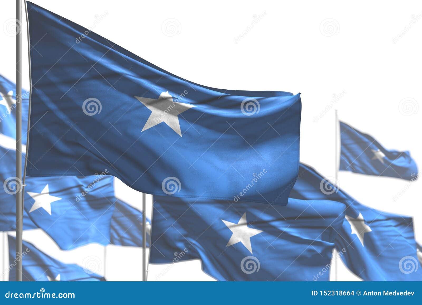 Hübsche Illustration der Nationalfeiertagflagge 3d - viele Somalia-Flaggen sind die Welle, die auf weiß- Bild mit bokeh lokalisie