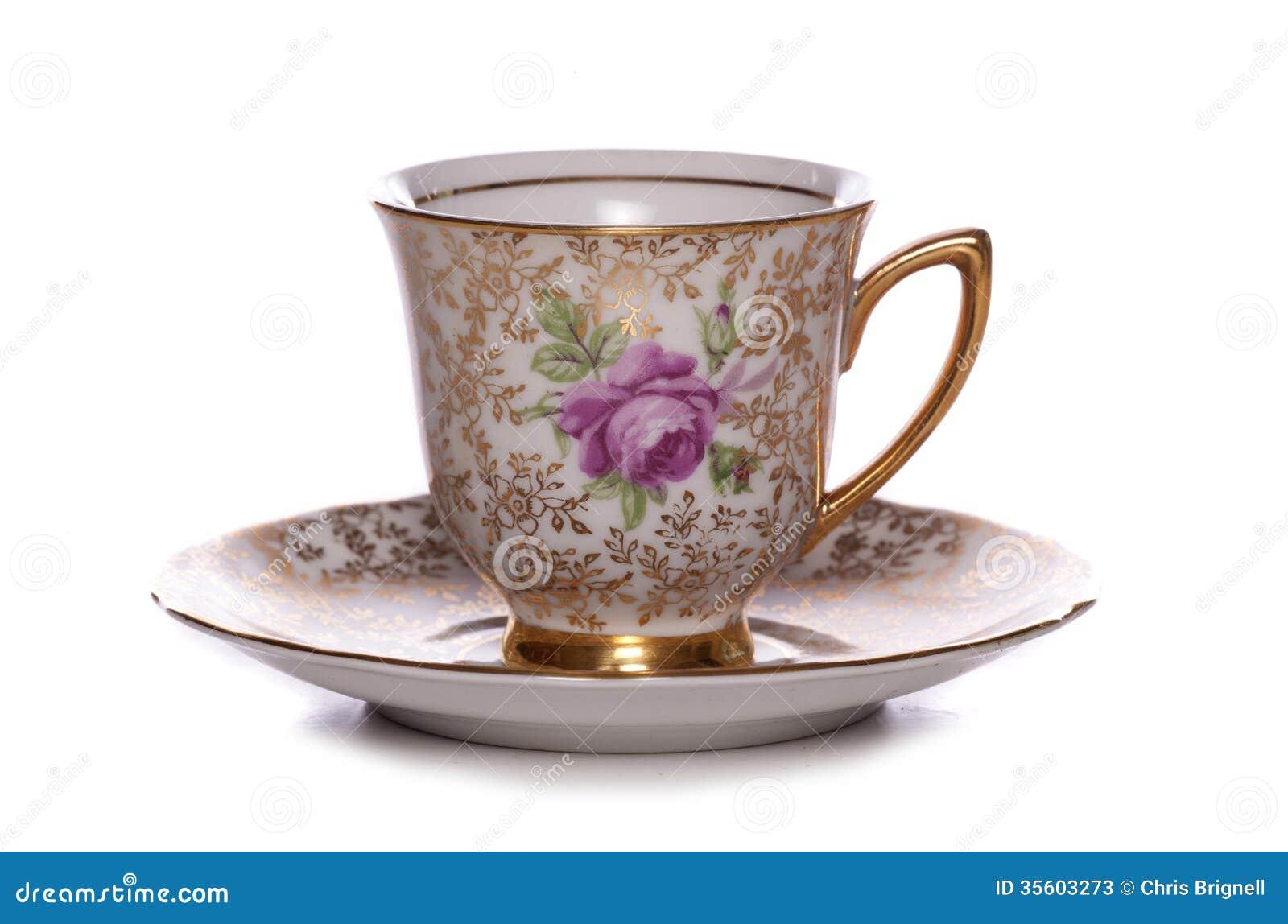 Hübsche Weinlesekaffeetasse und untertasse