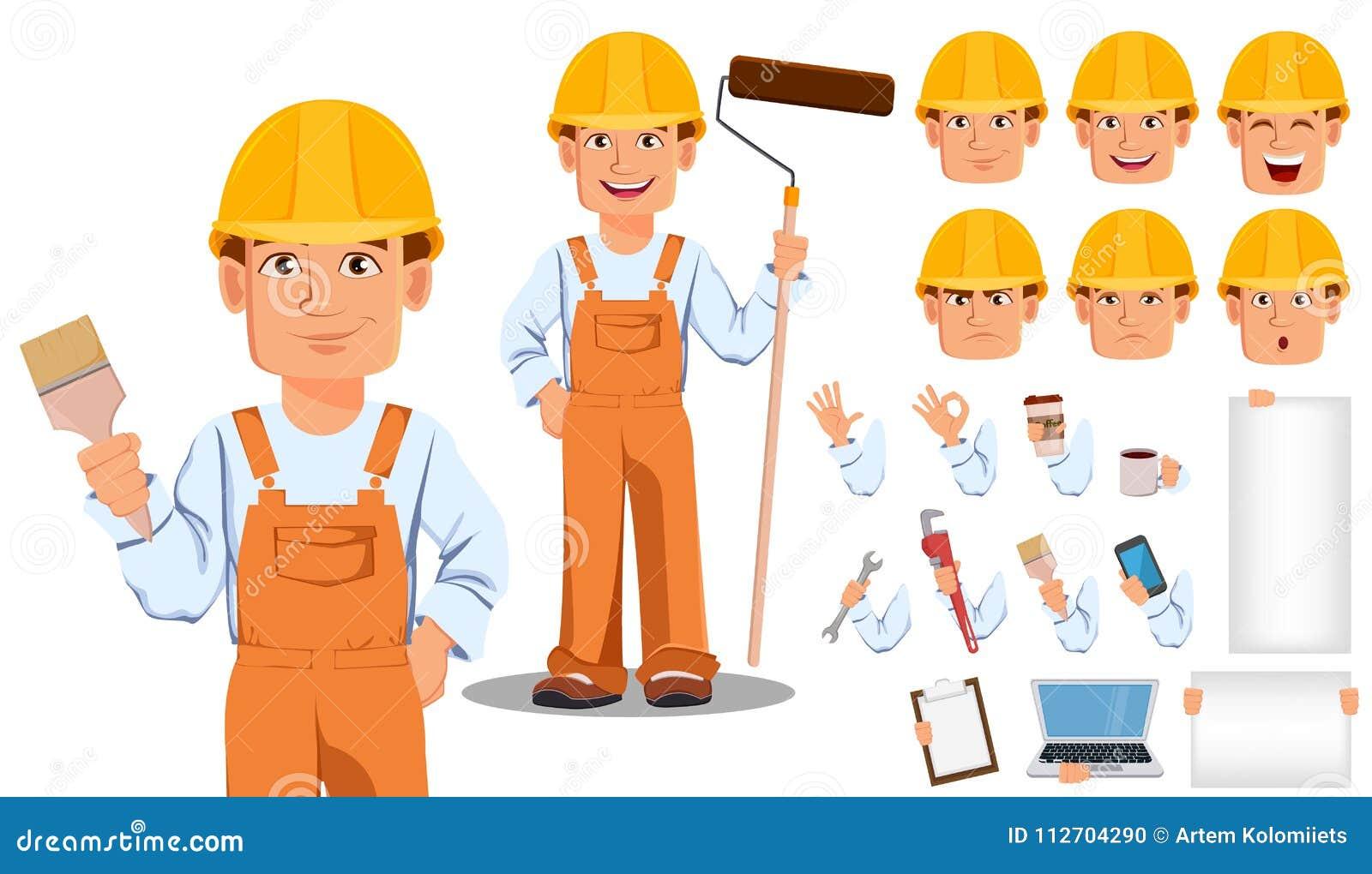 Hübscher Erbauer in der Uniform Berufsbauarbeiter